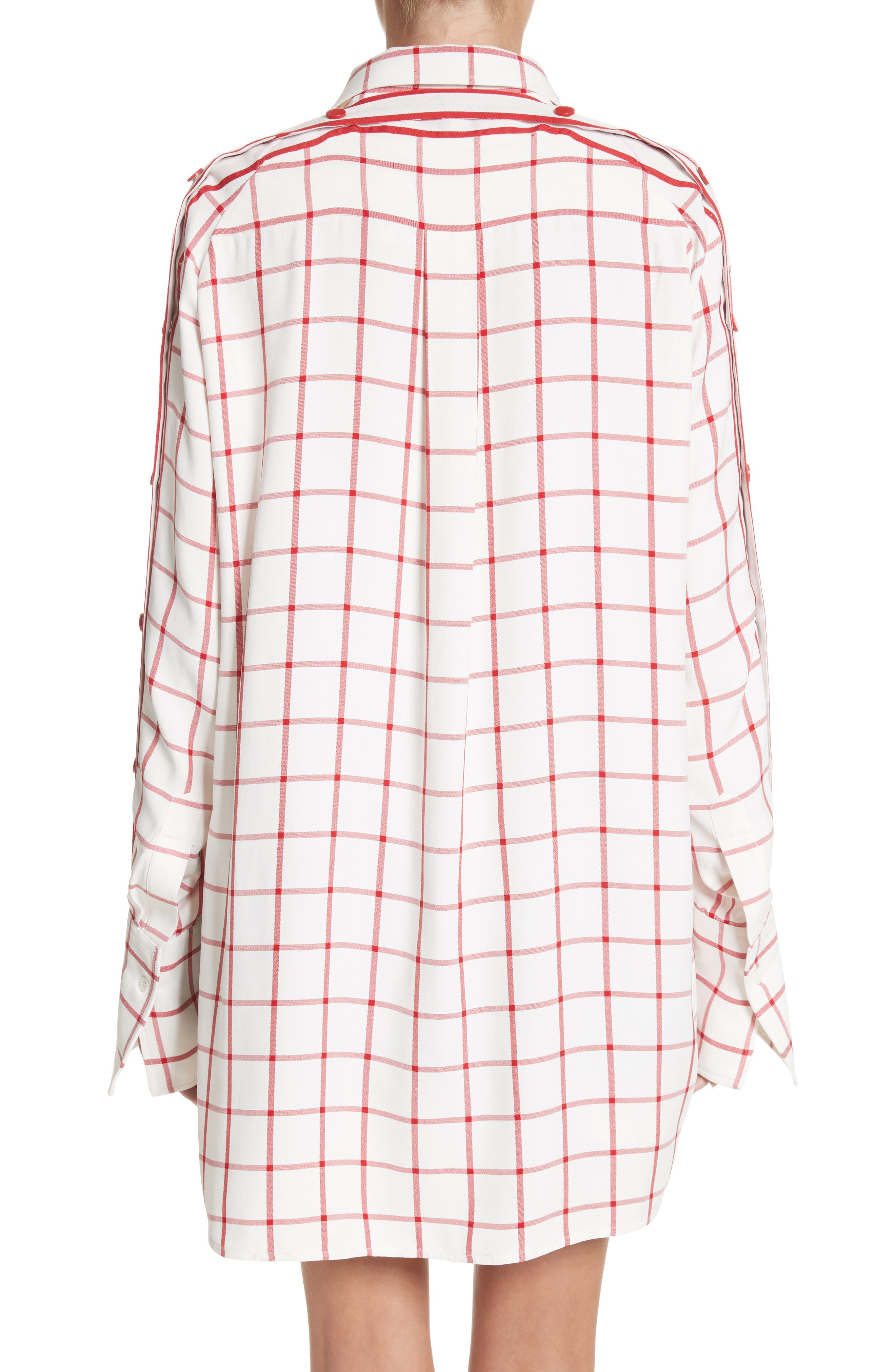 Windowpane Plaid Snap Sleeve Shirt,                             Alternate thumbnail 2, color,                             Ivory/ Red