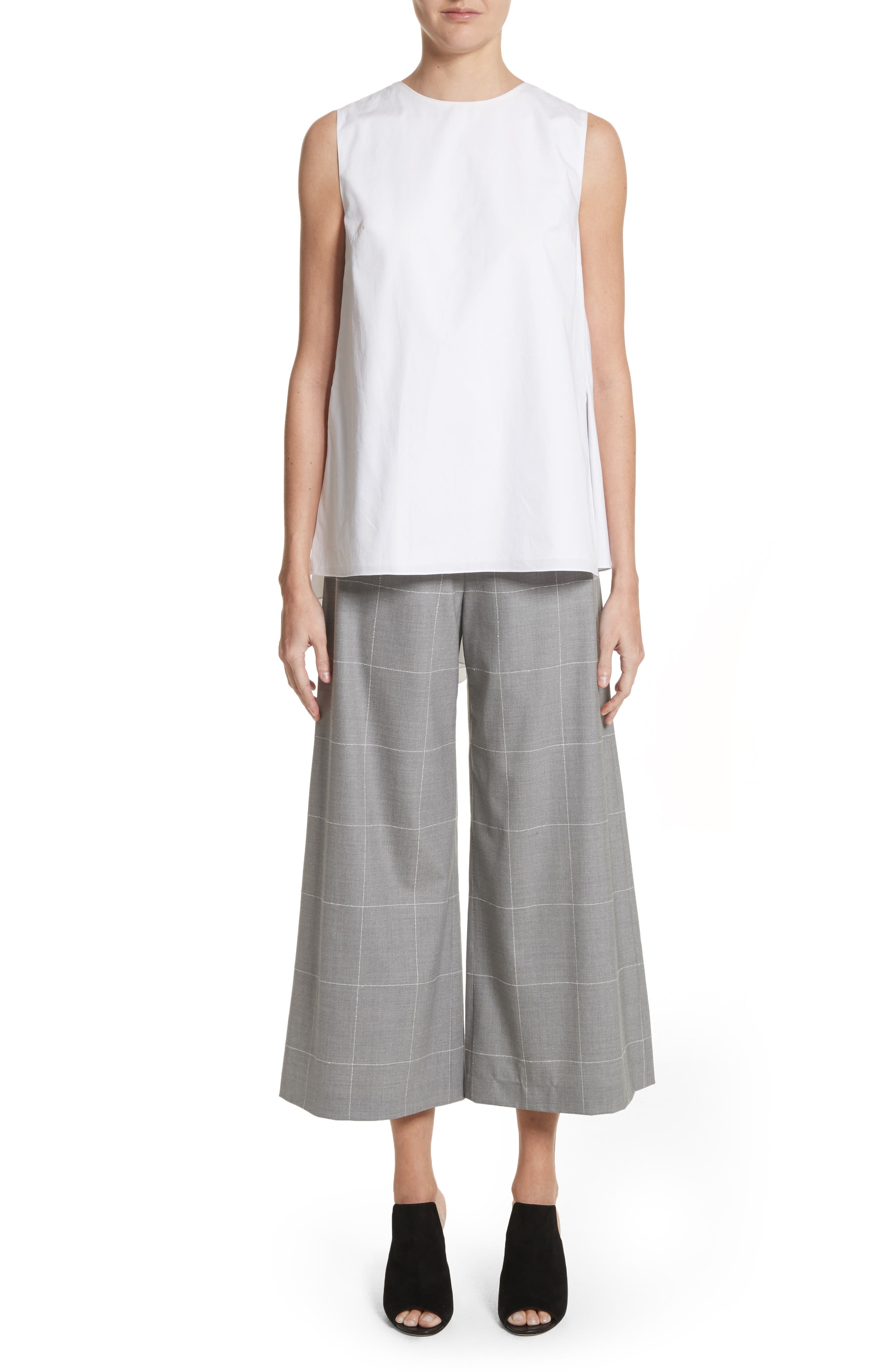 Windowpane Check Wool Wide Leg Crop Pants,                             Alternate thumbnail 8, color,                             Grey/ Ivory