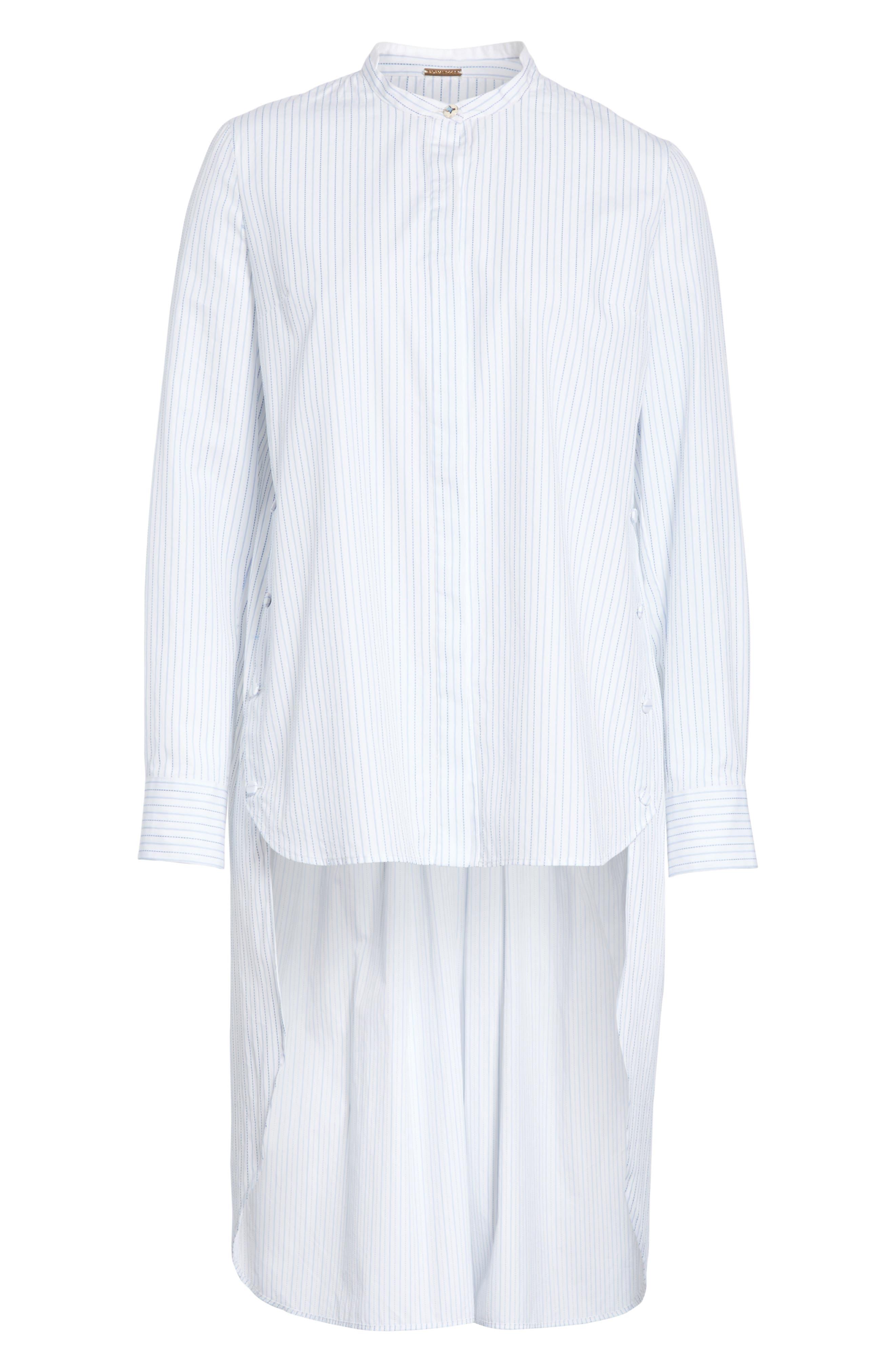 High/Low Stripe Cotton Poplin Shirt,                             Alternate thumbnail 6, color,                             White/ Blue