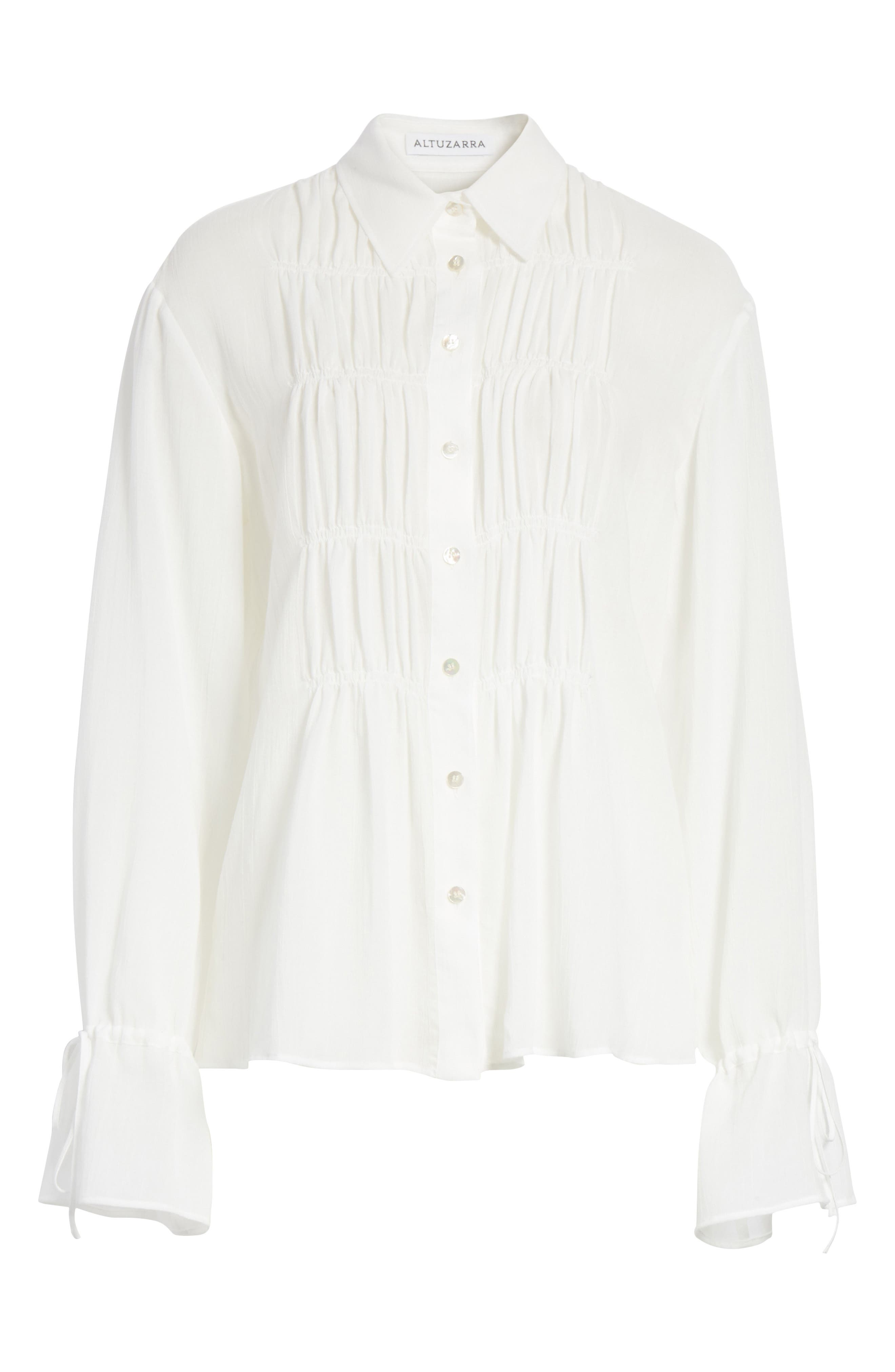 Ruched Detail Blouse,                             Alternate thumbnail 7, color,                             Optic White