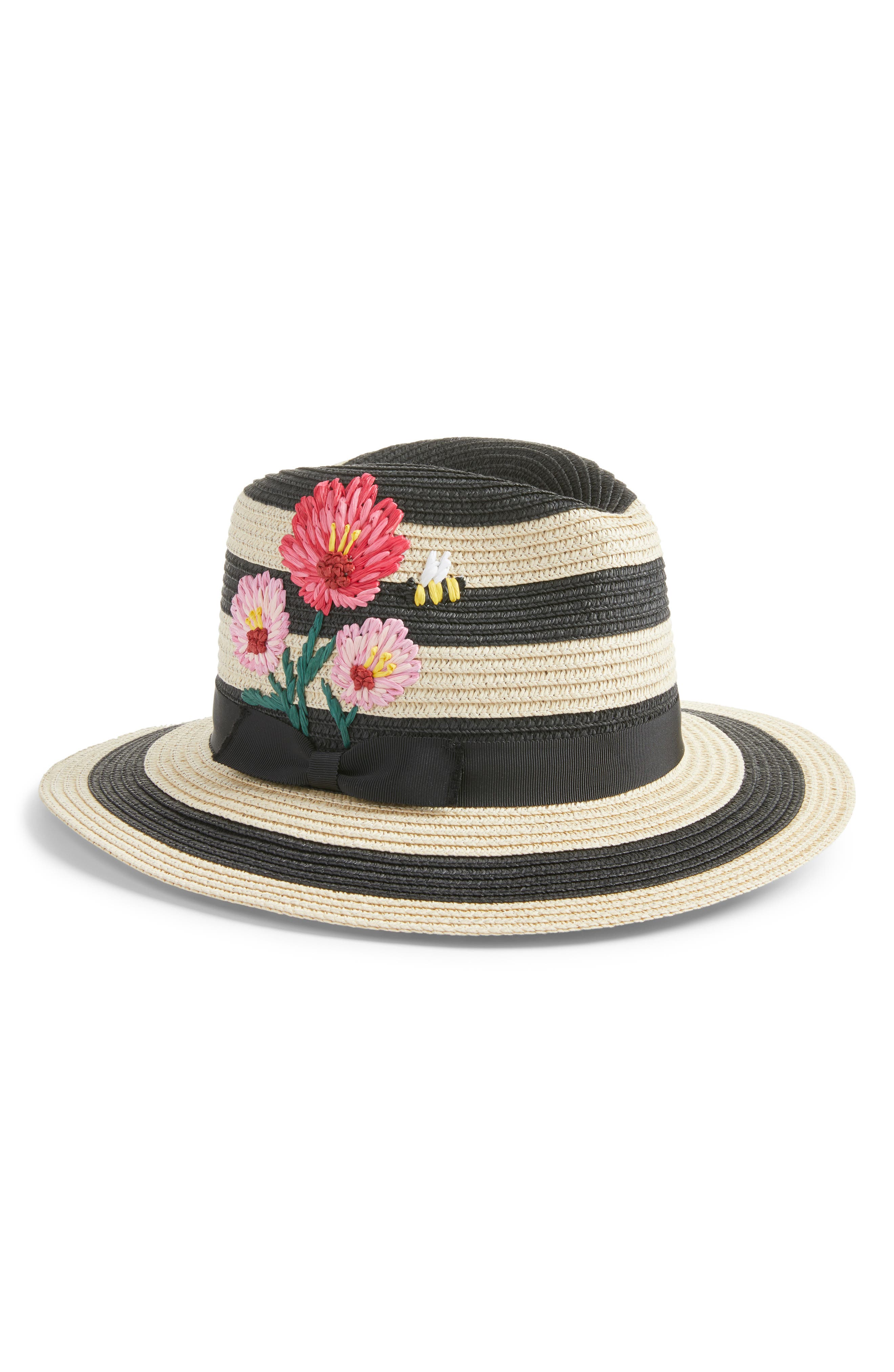 blossom embroidered straw trilby,                         Main,                         color, Black