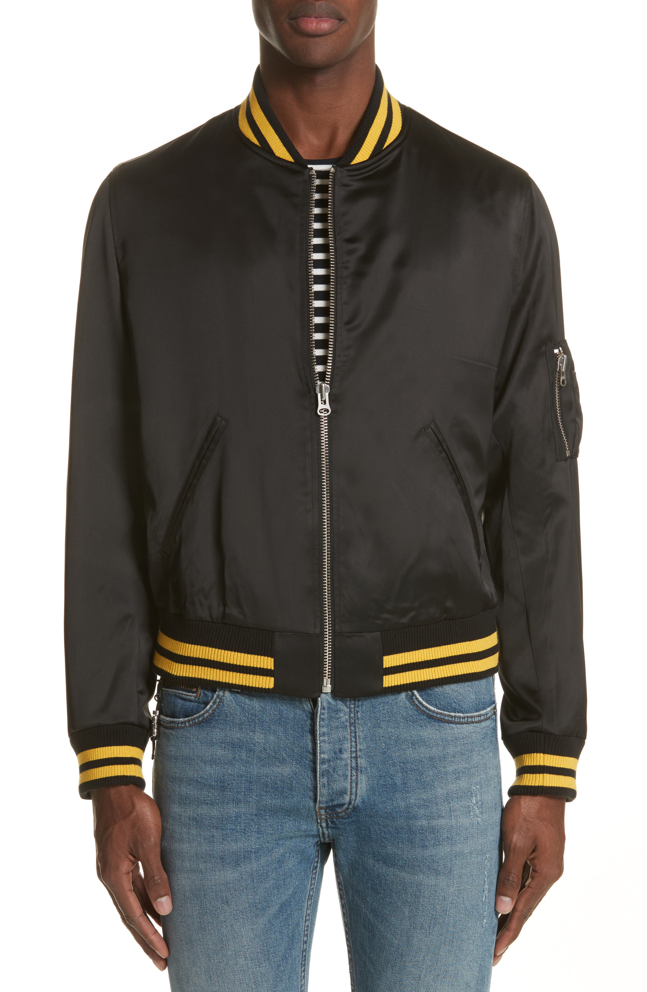 Satin Bomber Jacket,                         Main,                         color, Bla A2