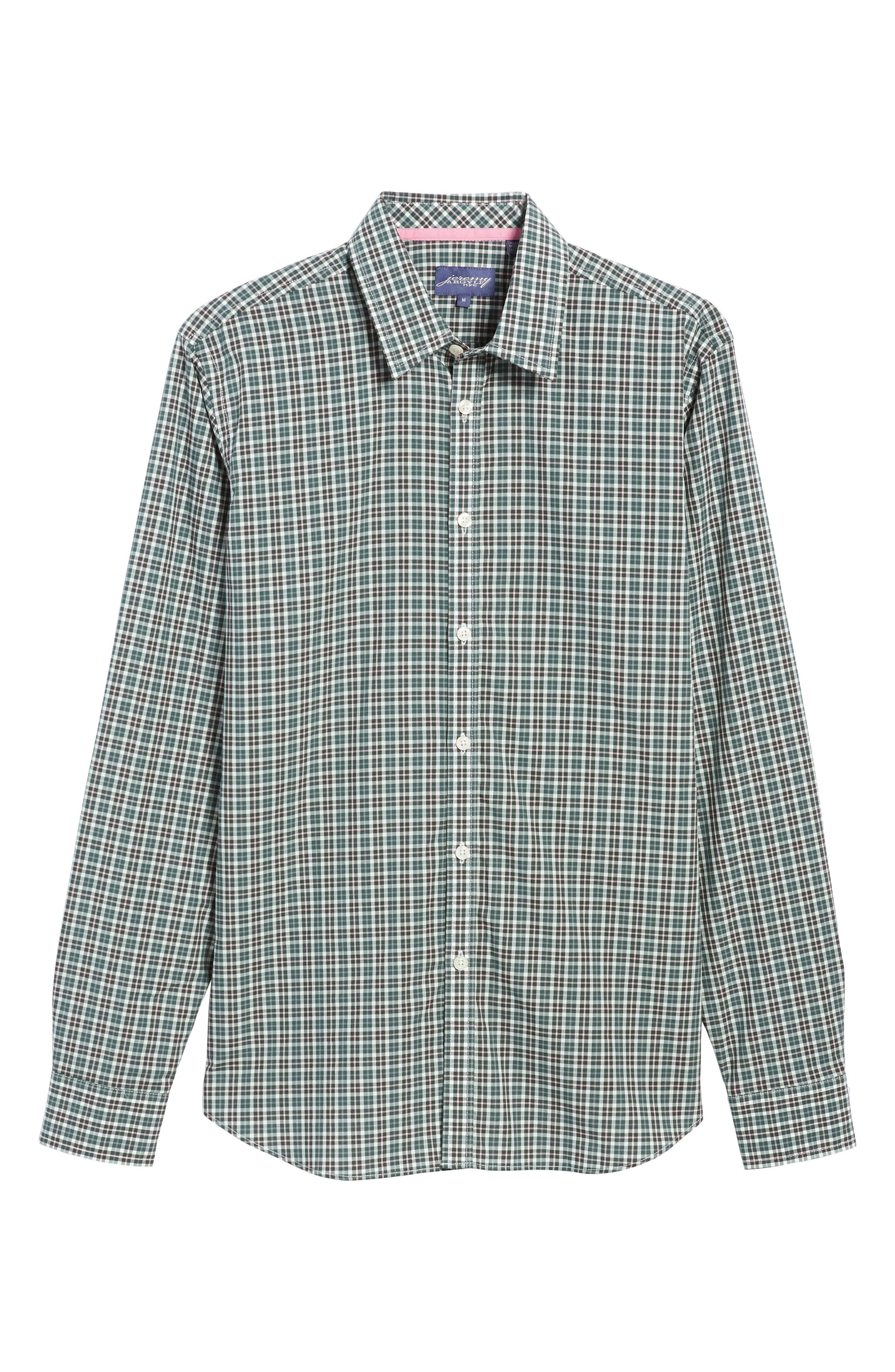 Comfort Fit Plaid Sport Shirt,                             Alternate thumbnail 6, color,                             Medium Green