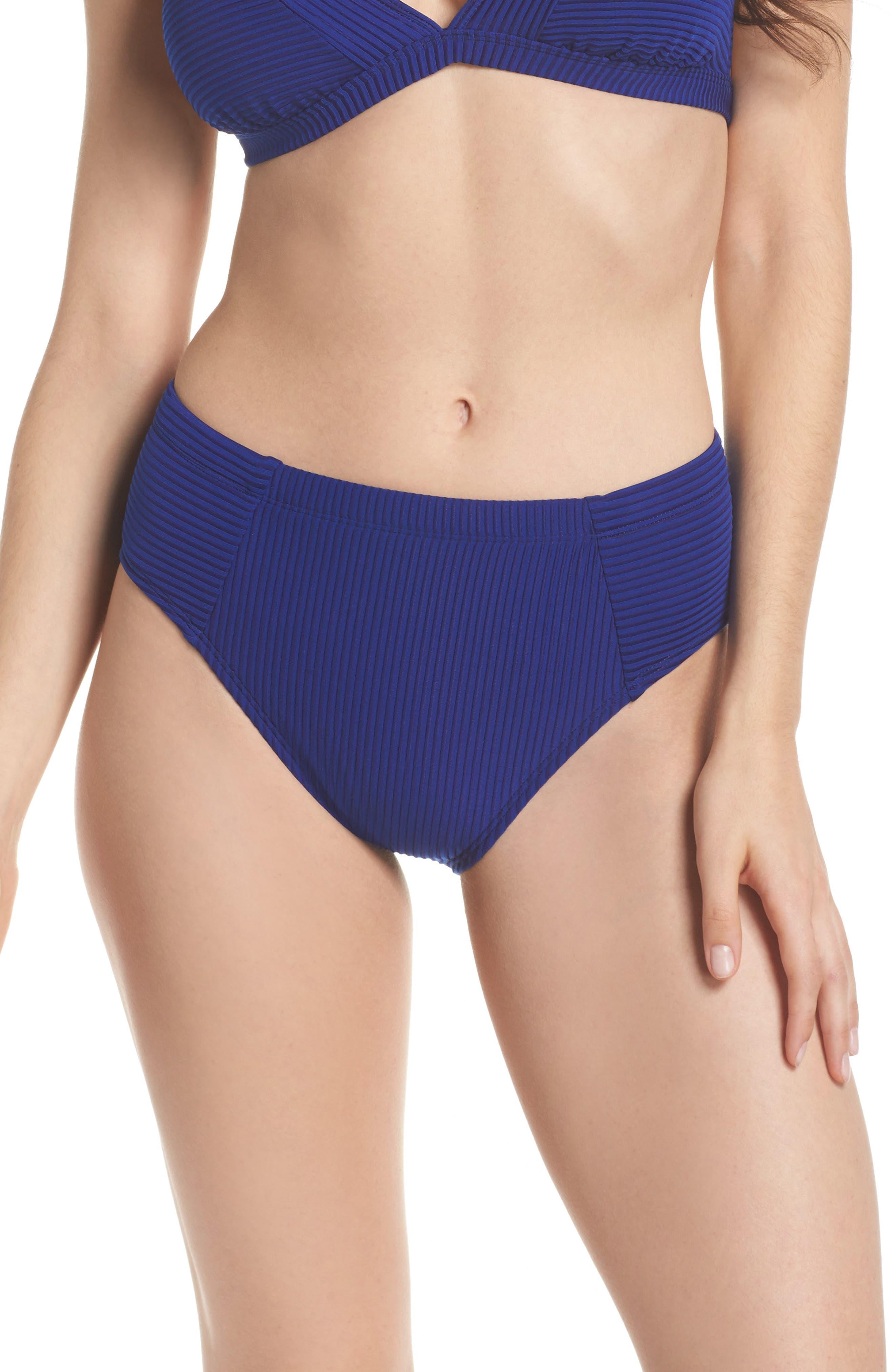 Becca High Waist Bikini Bottoms,                         Main,                         color, Apollo Blue