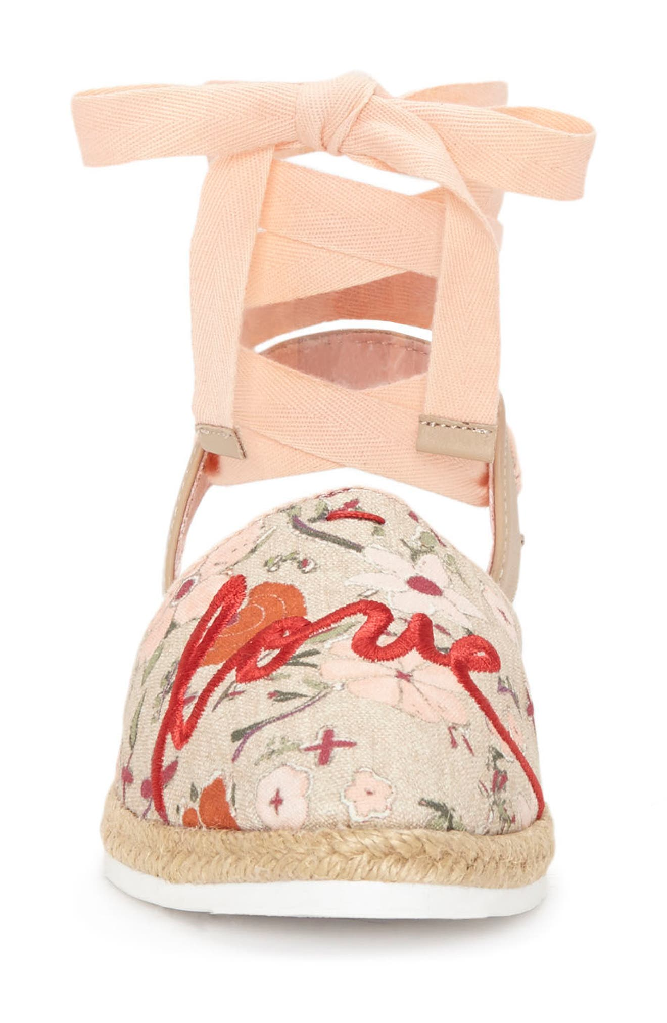Lourana Ankle Wrap Espadrille,                             Alternate thumbnail 4, color,                             Coral/ Bisque Fabric