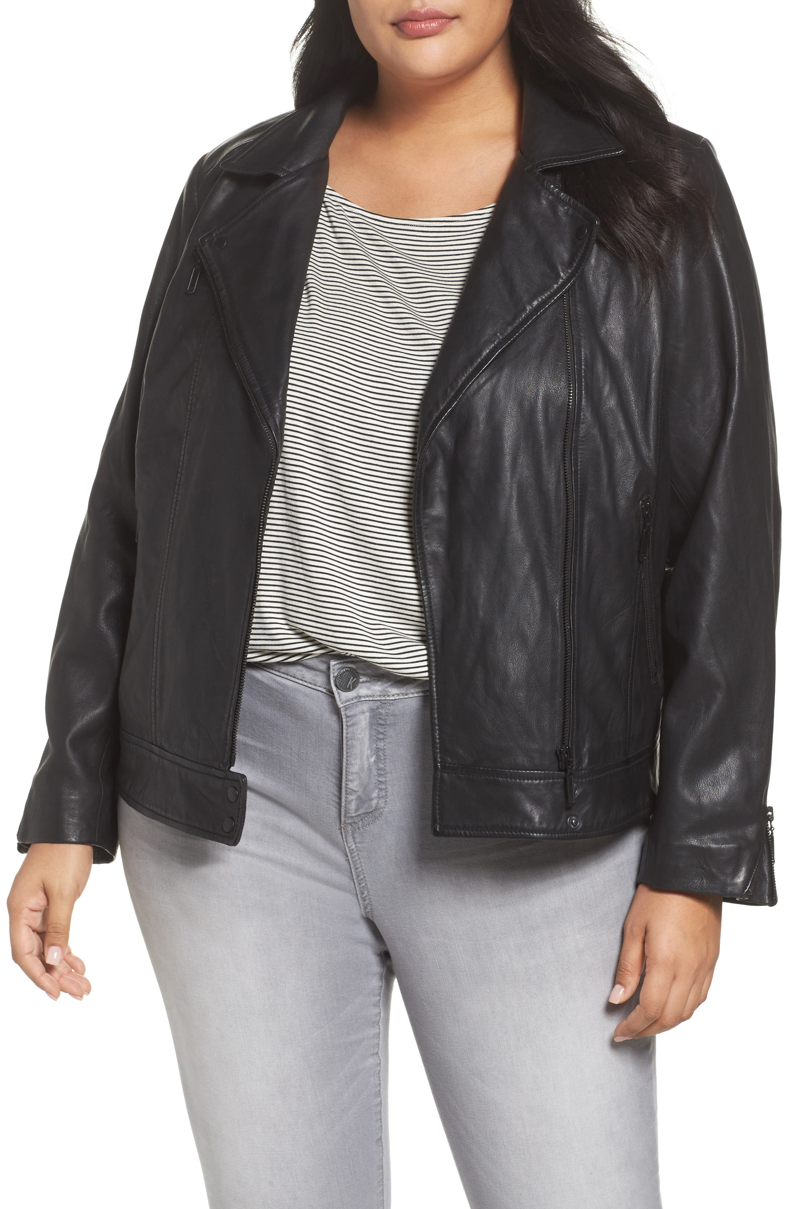 Halogen® Asymmetrical Leather Jacket (Plus Size)