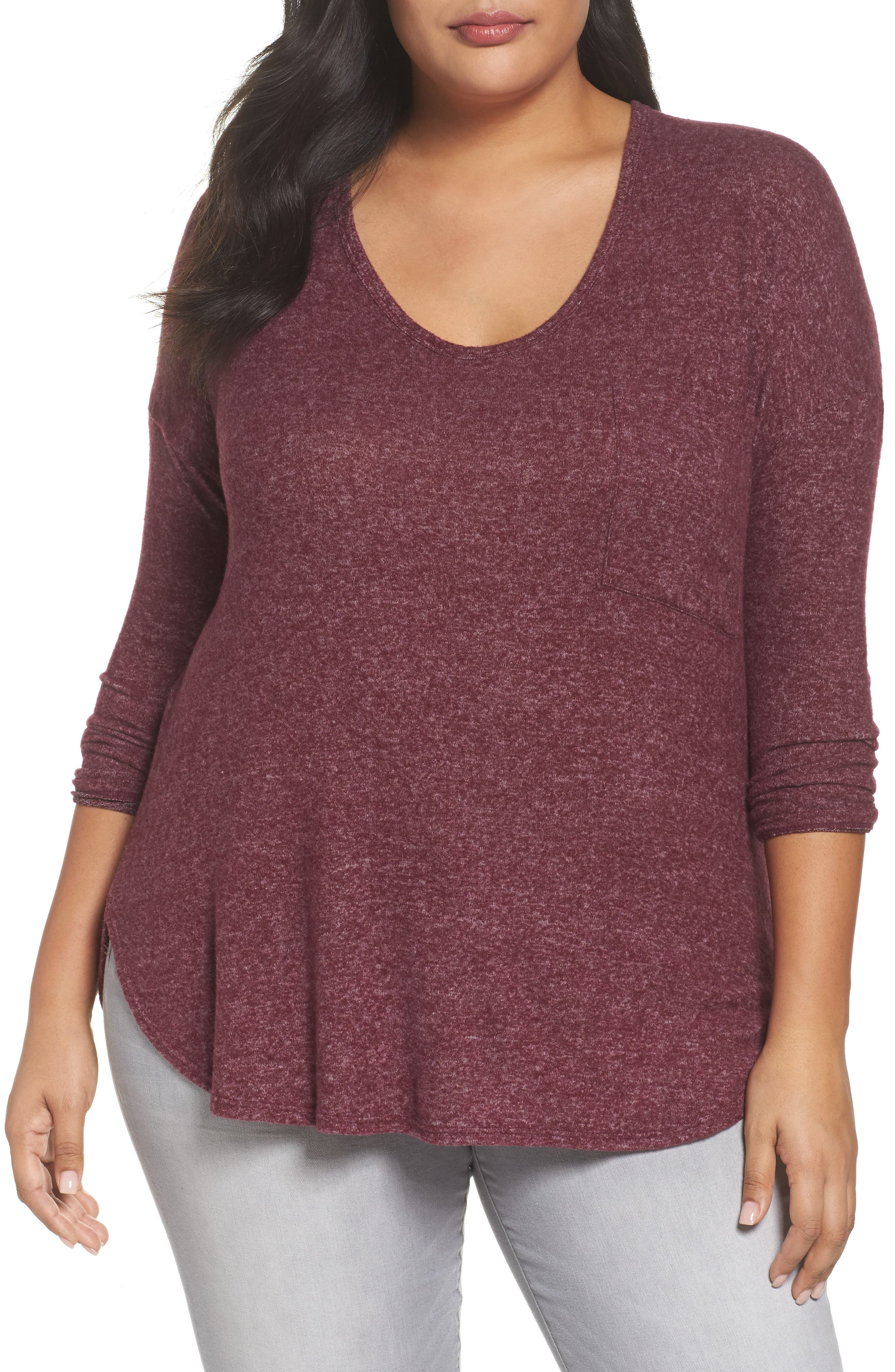 High/Low Knit Top,                         Main,                         color, Wine