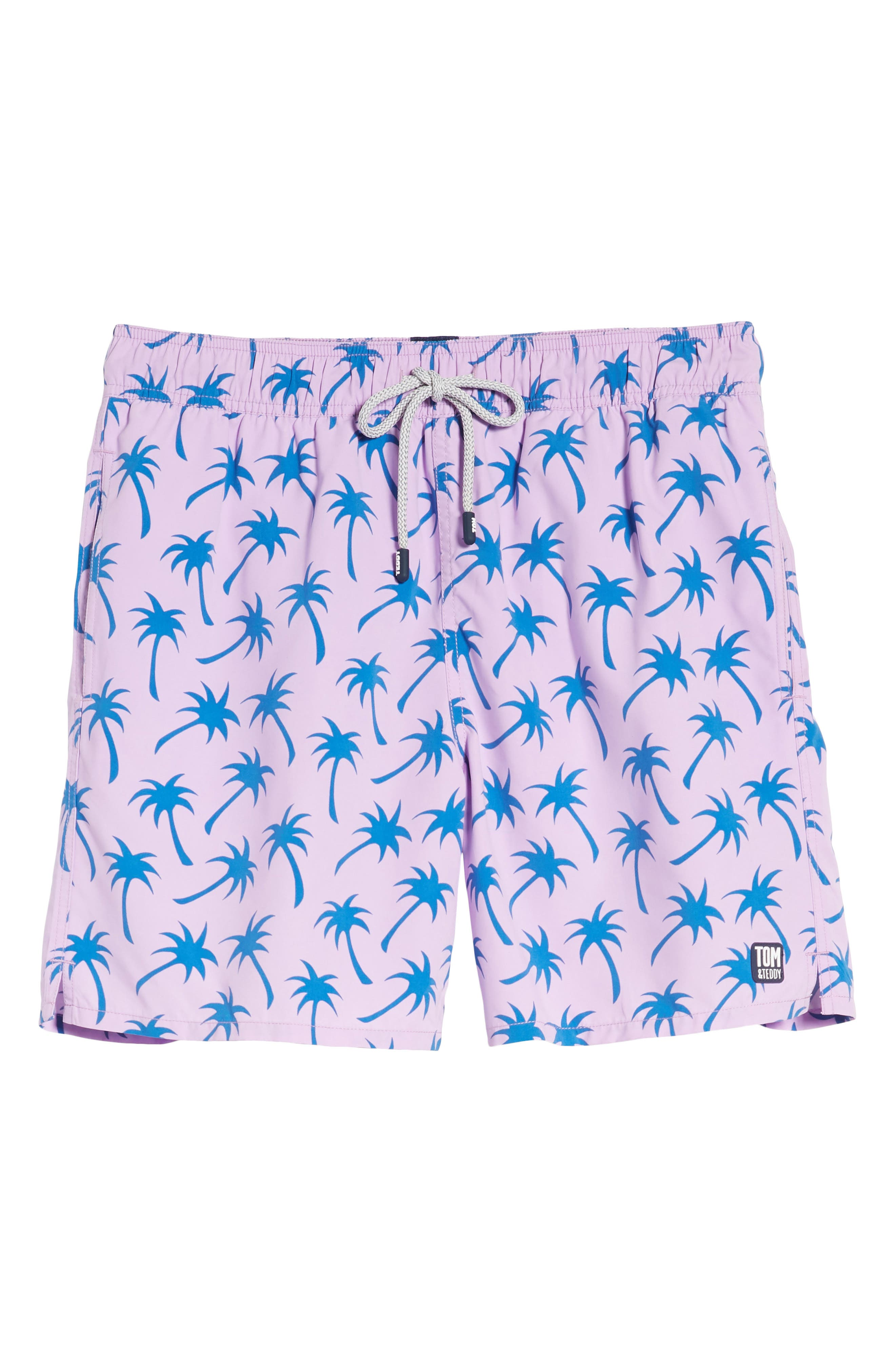 Alternate Image 6  - Tom & Teddy Palm Print Swim Trunks
