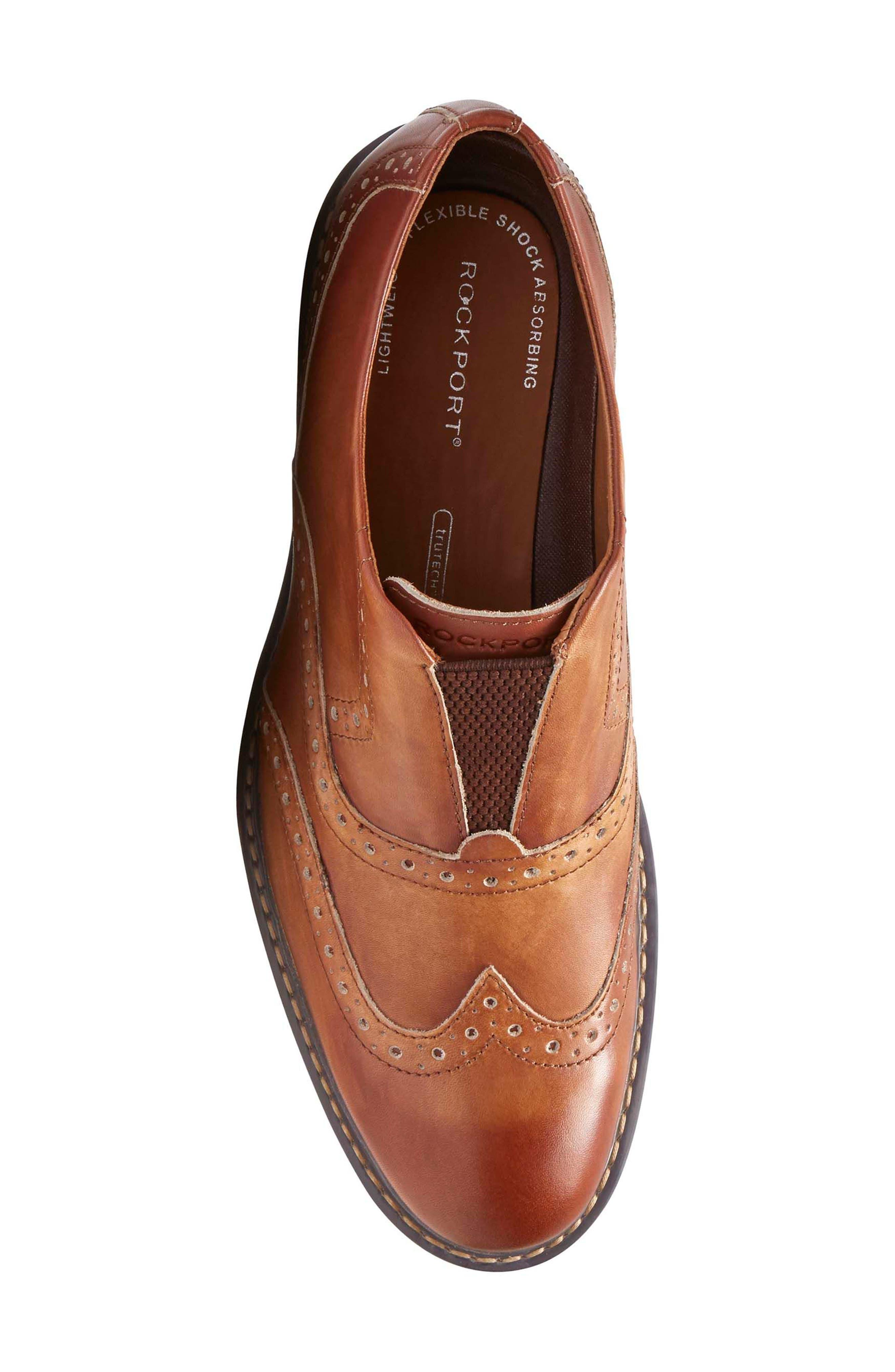 Jaxson Wingtip Slip-On,                             Alternate thumbnail 5, color,                             Tan Leather