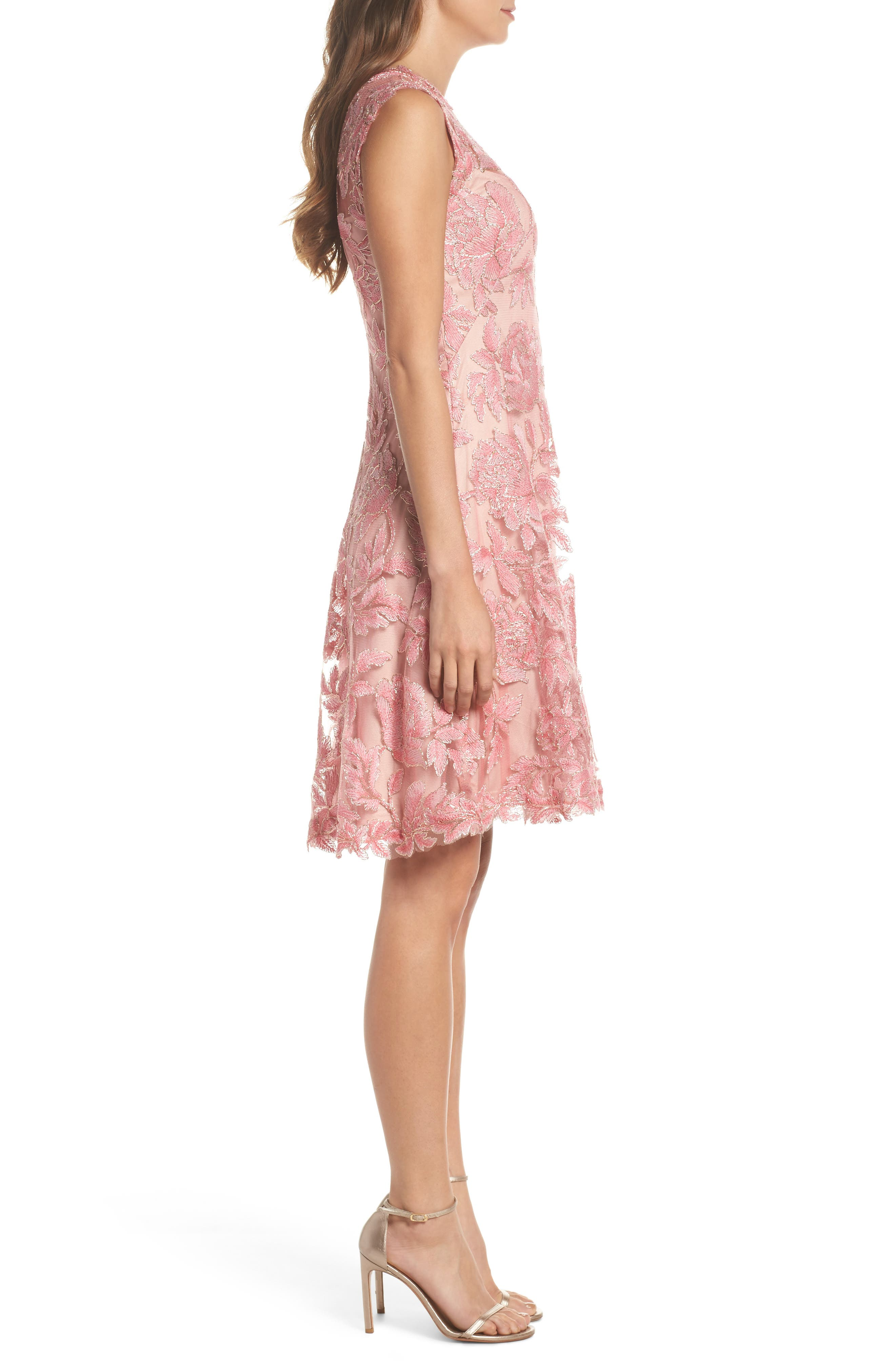 Alternate Image 3  - Tadashi Shoji Noelle Floral Fit & Flare Dress (Regular & Petite)