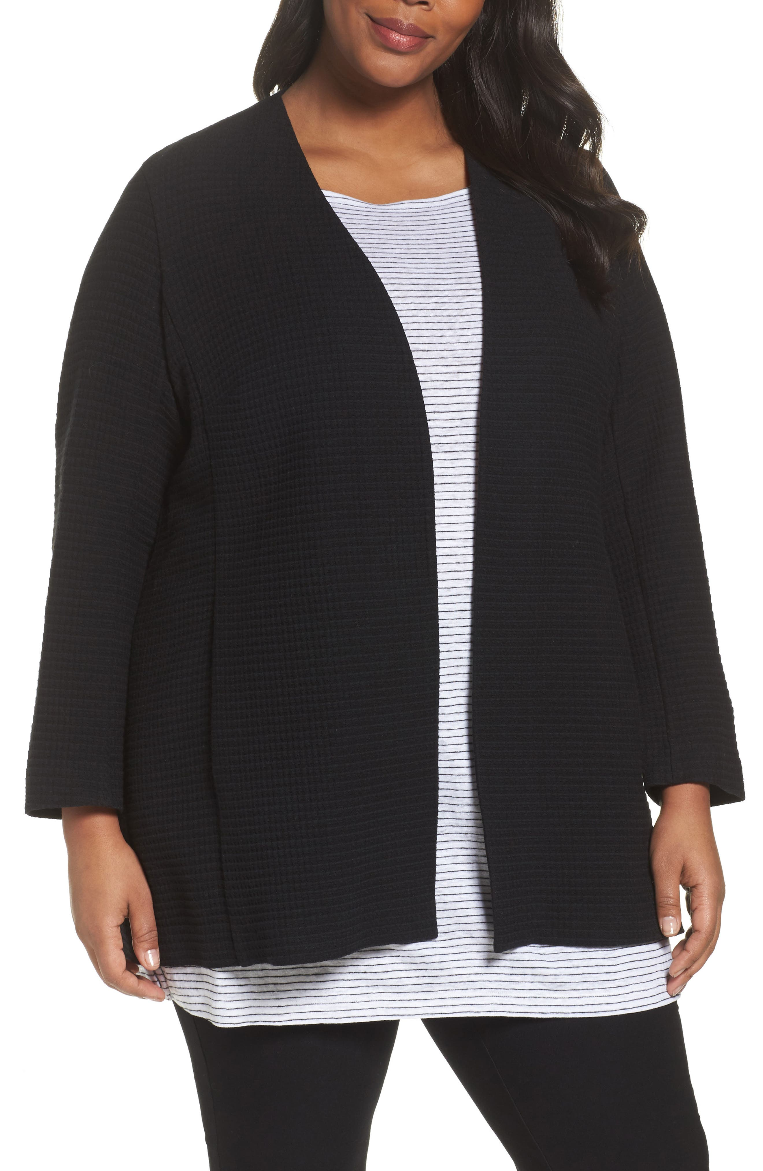 Long Jacquard Jacket,                         Main,                         color, Black