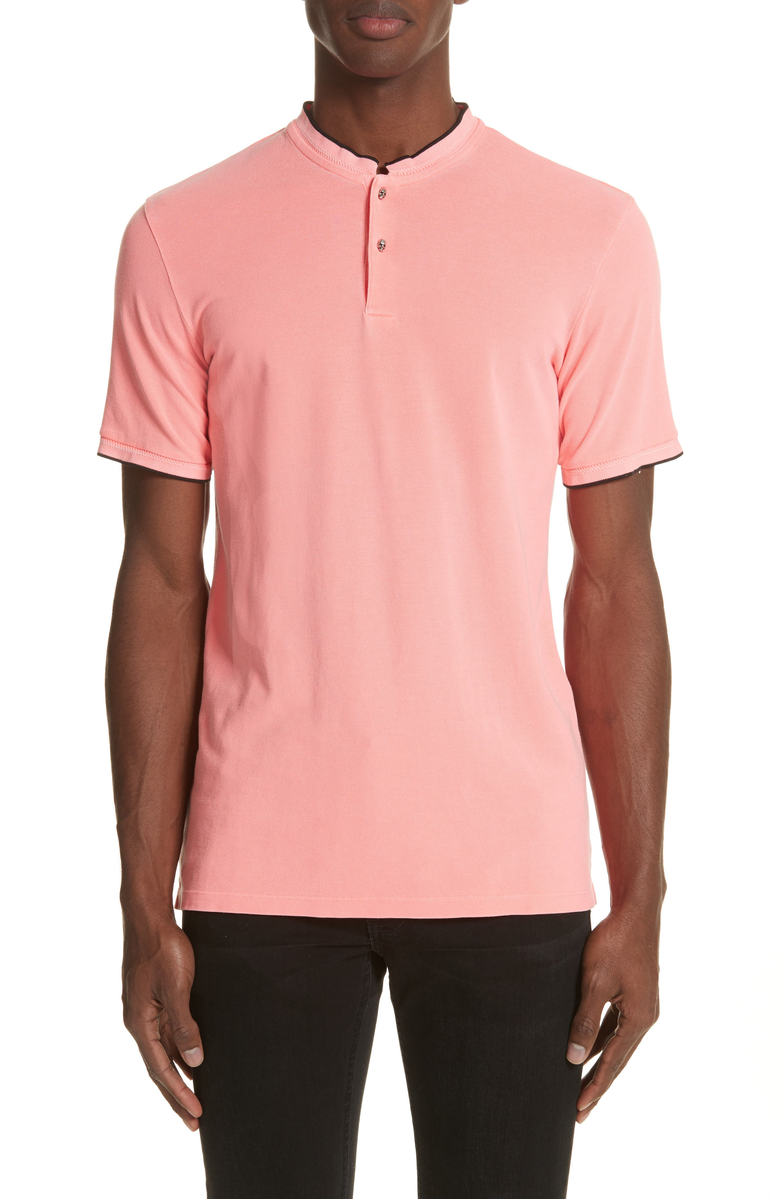 Tipped Polo,                         Main,                         color, Pink 1