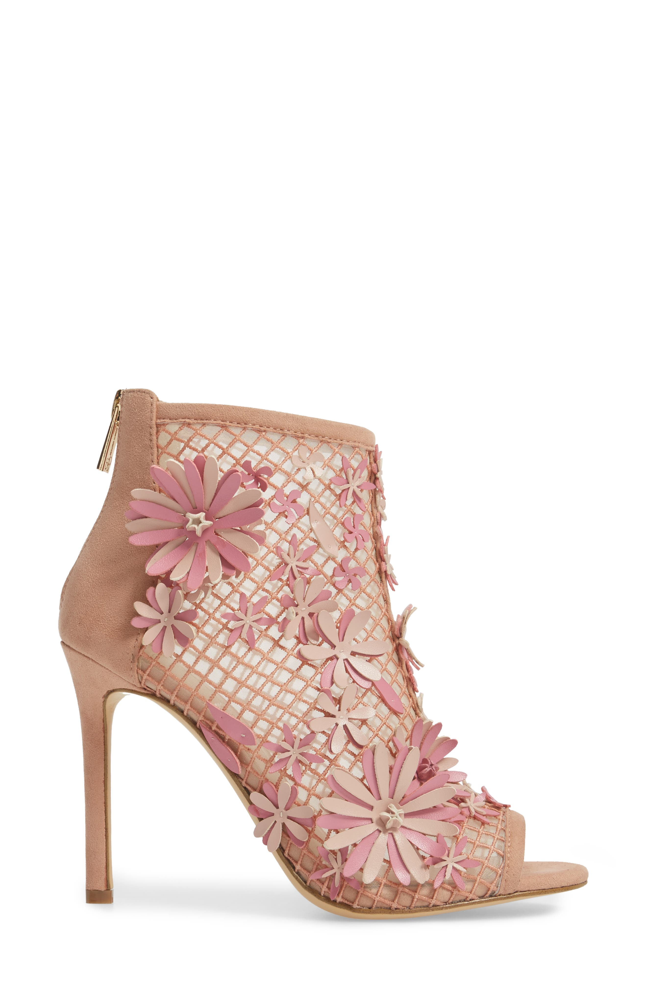 Jayko Flower Mesh Bootie,                             Alternate thumbnail 3, color,                             Nude Blush