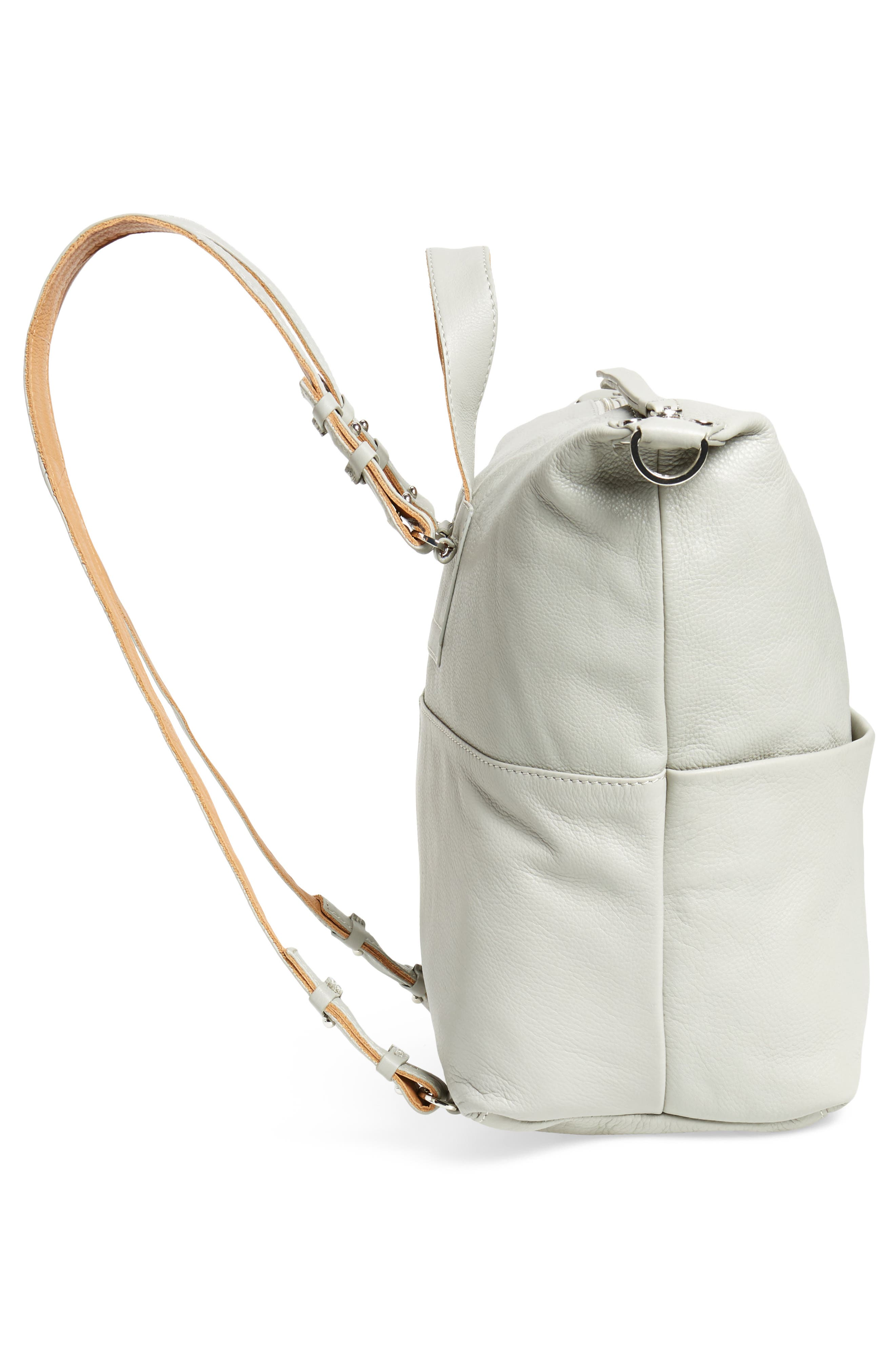 Premium Leather Convertible Backpack,                             Alternate thumbnail 4, color,                             Grey