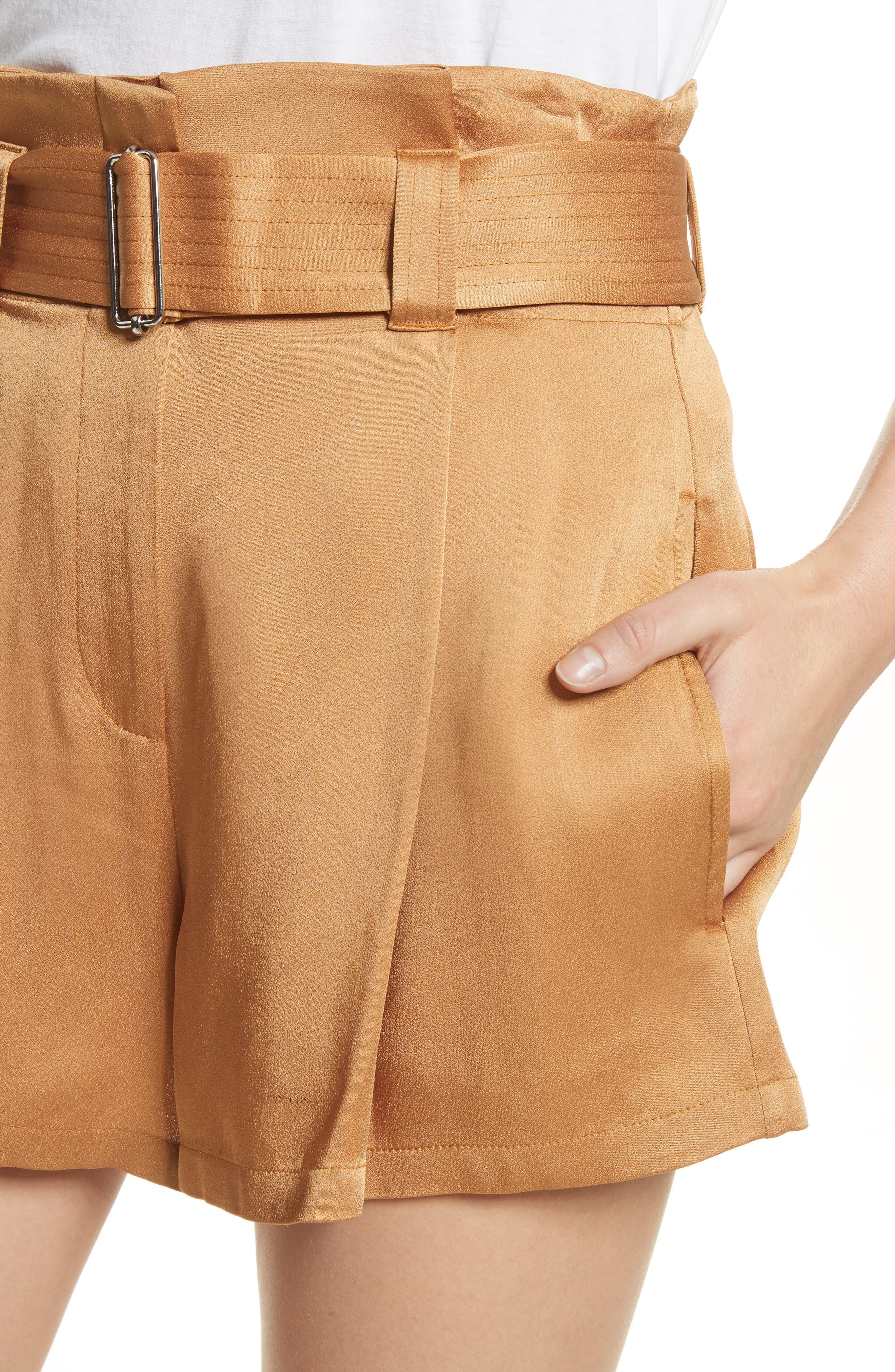 Deliah Paperbag Waist Shorts,                             Alternate thumbnail 4, color,                             Caramel