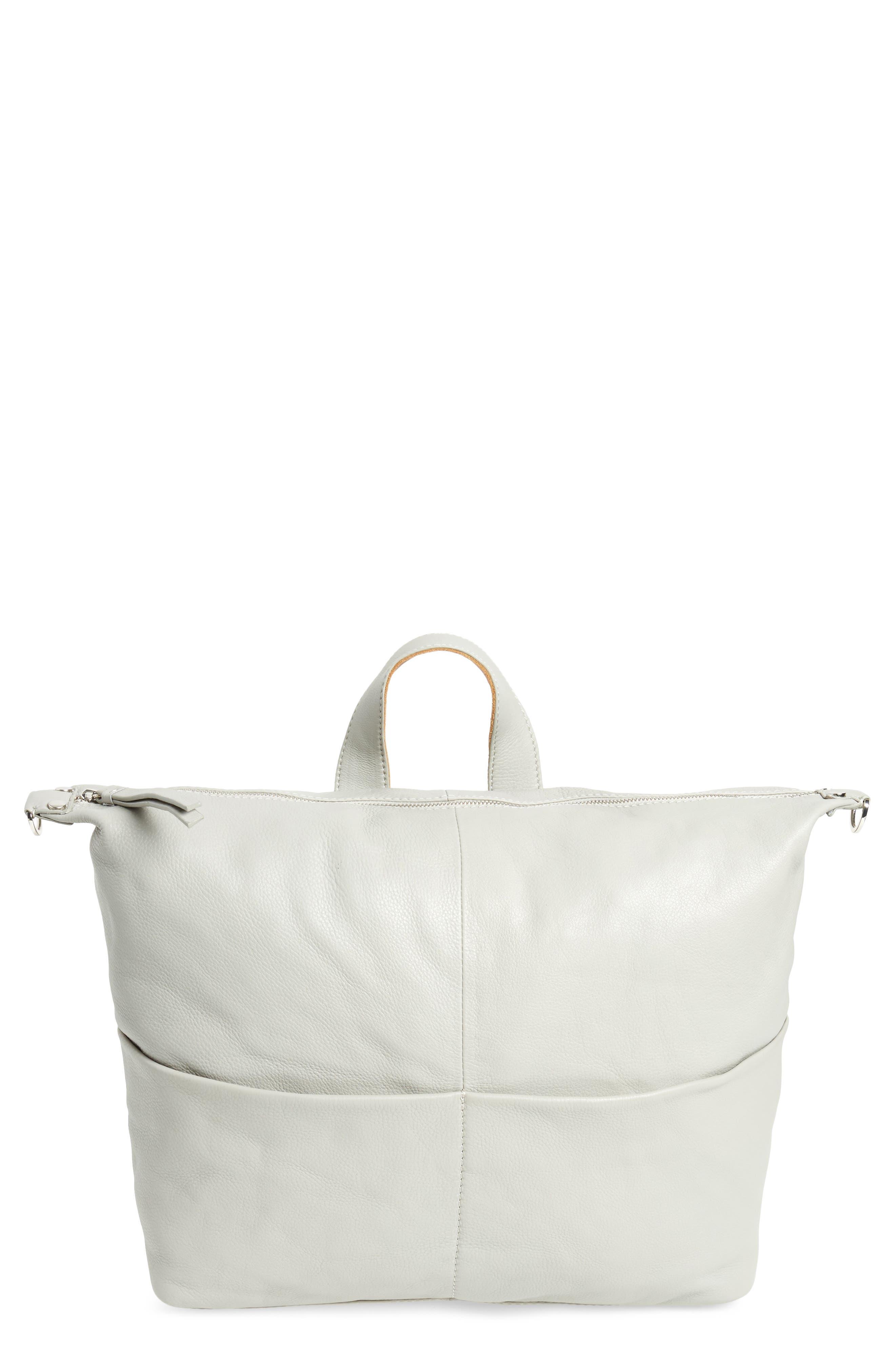 Premium Leather Convertible Backpack,                             Main thumbnail 1, color,                             Grey