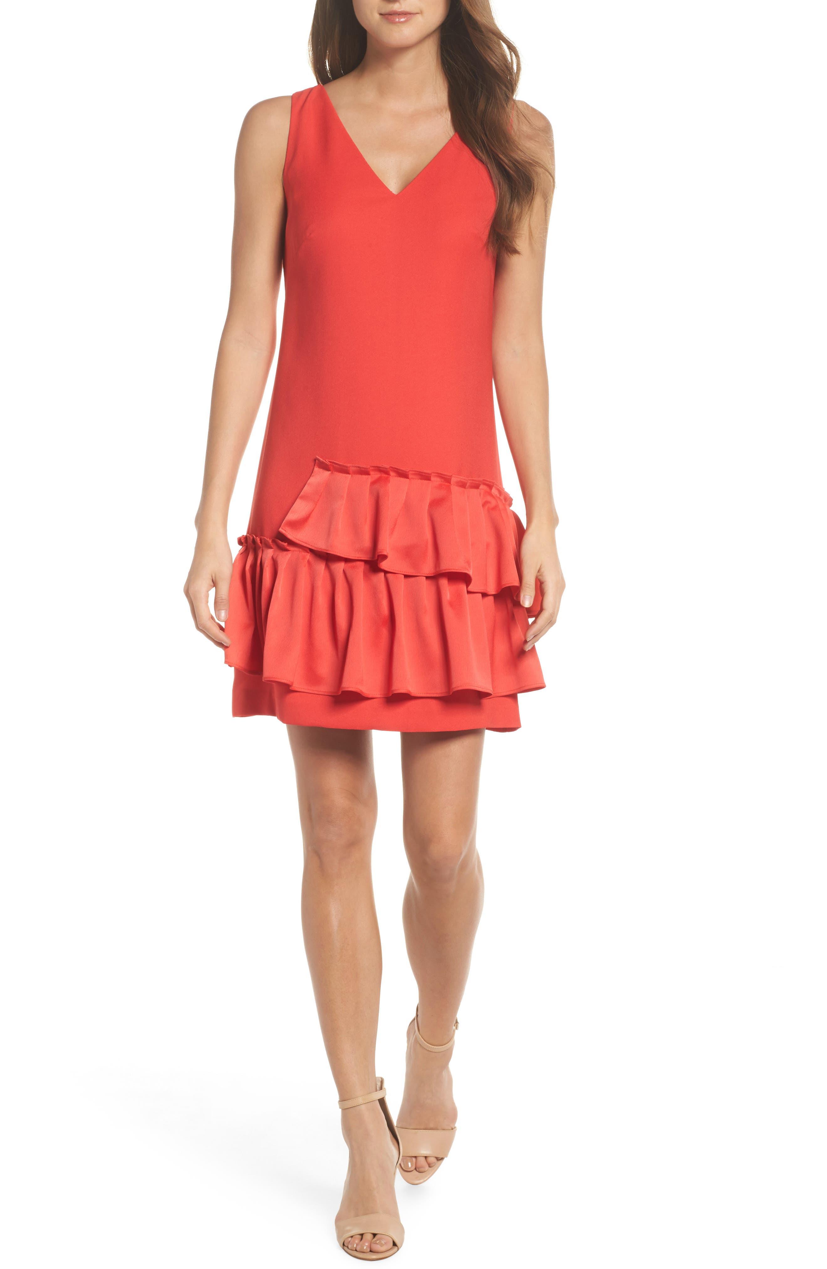 Alternate Image 1 Selected - Eliza J Ruffle Hem Sheath Dress