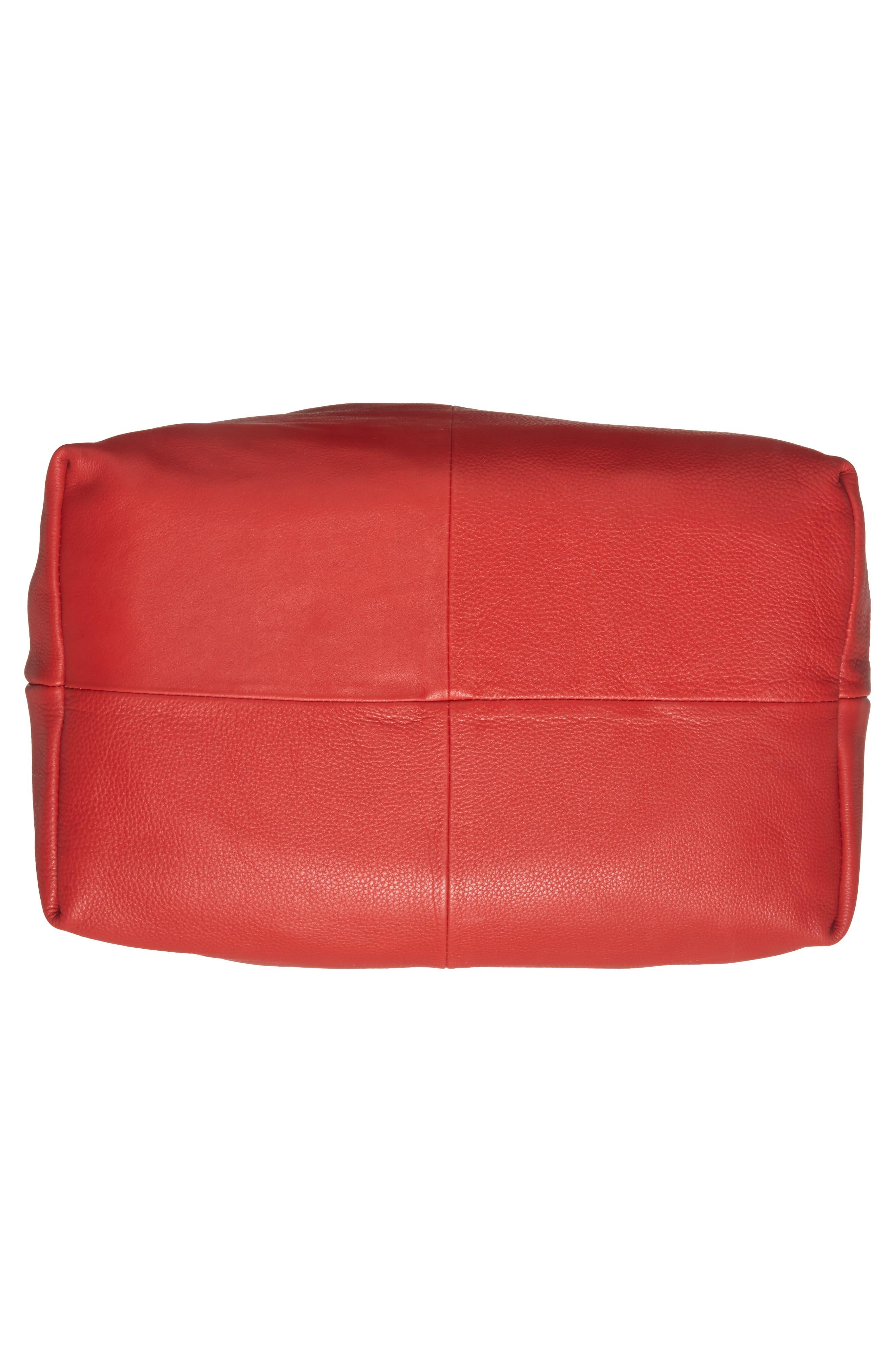 Premium Leather Jasmine Hobo Bag,                             Alternate thumbnail 5, color,                             Red