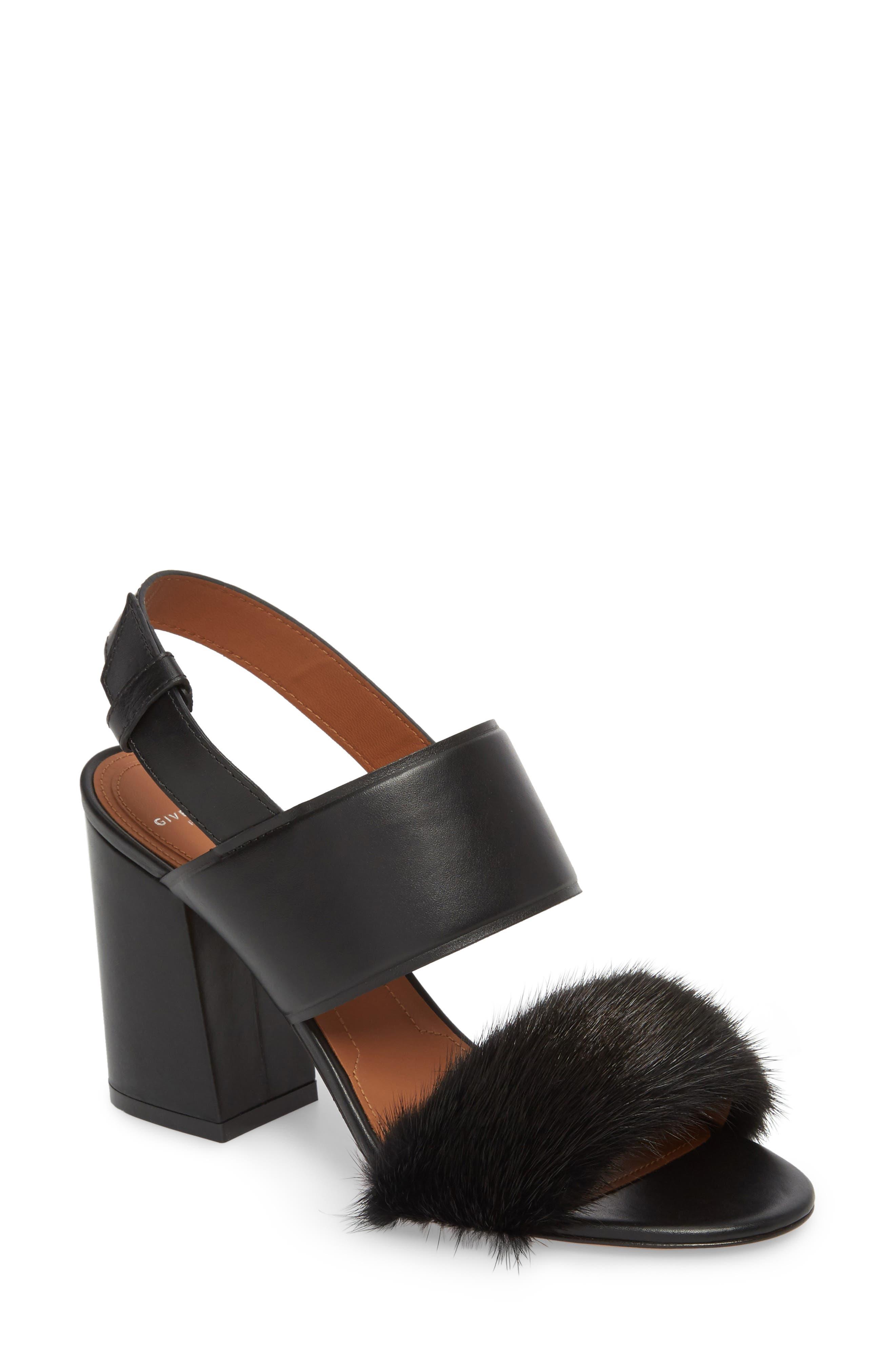 Genuine Mink Flared Heel Sandal,                             Main thumbnail 1, color,                             Black