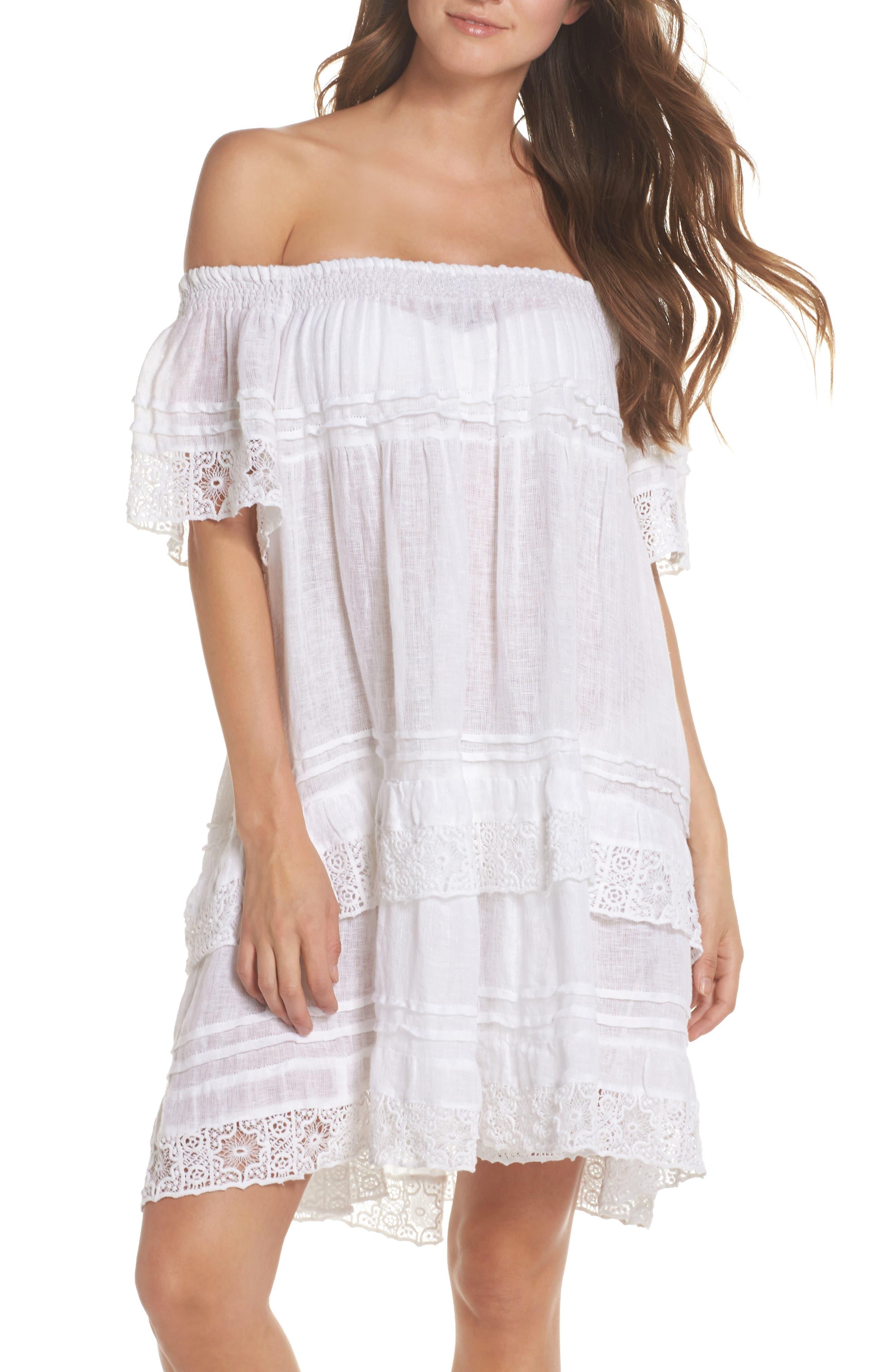 Esmerelda Cover-Up Dress,                         Main,                         color, White