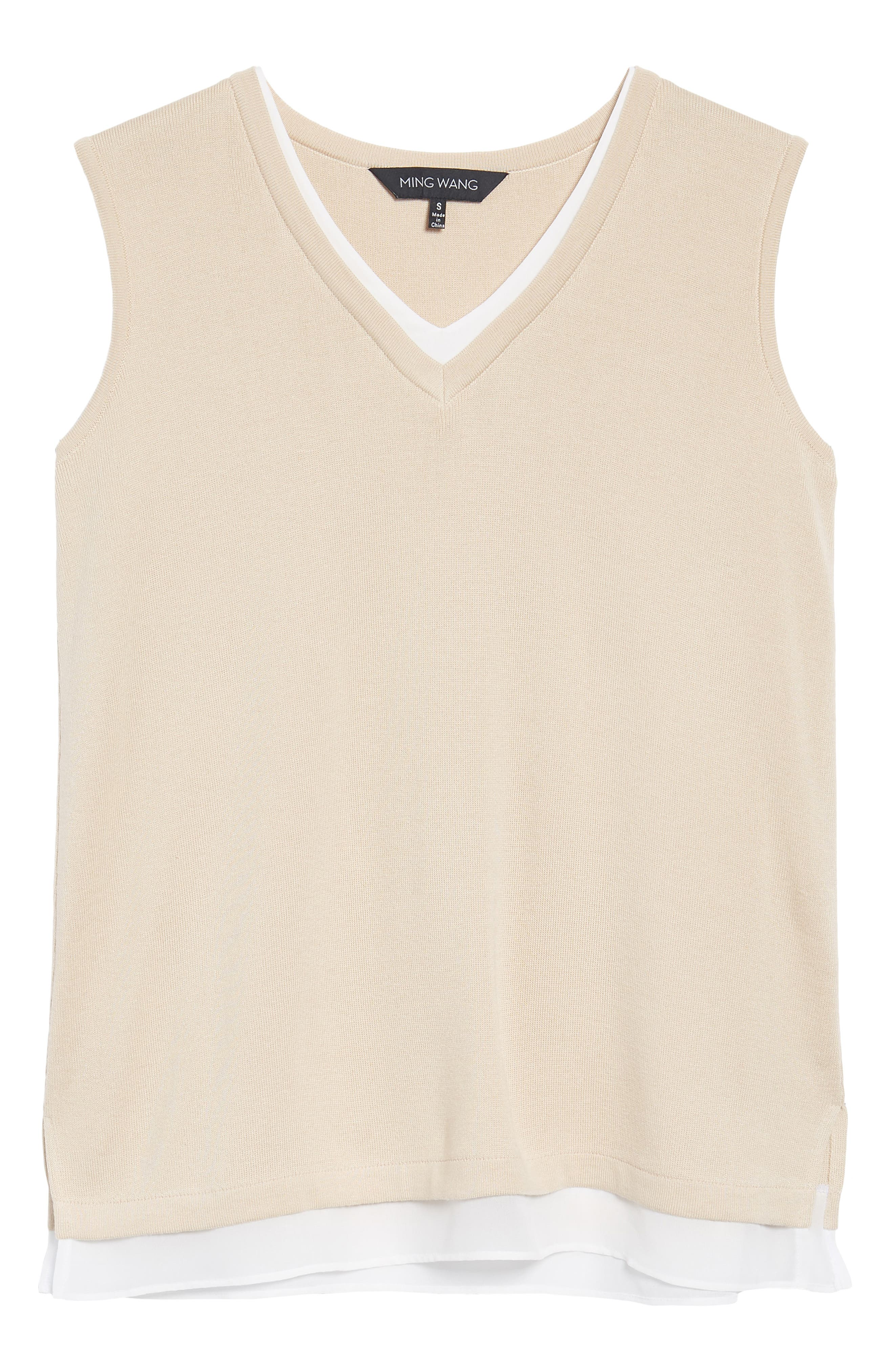 Knit Contrast Tank Top,                             Alternate thumbnail 6, color,                             Twig/ White