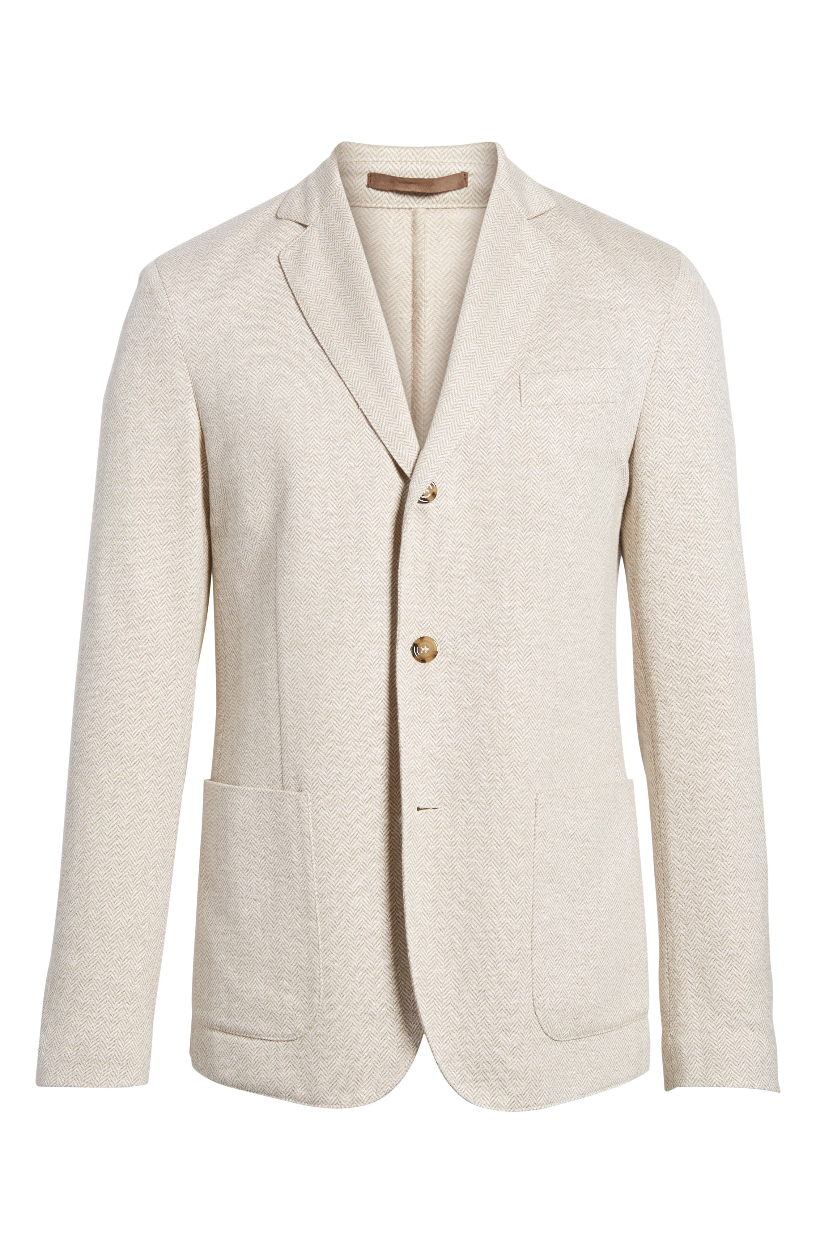 Trim Fit Herringbone Linen & Cotton Jacket,                             Alternate thumbnail 6, color,                             Sand