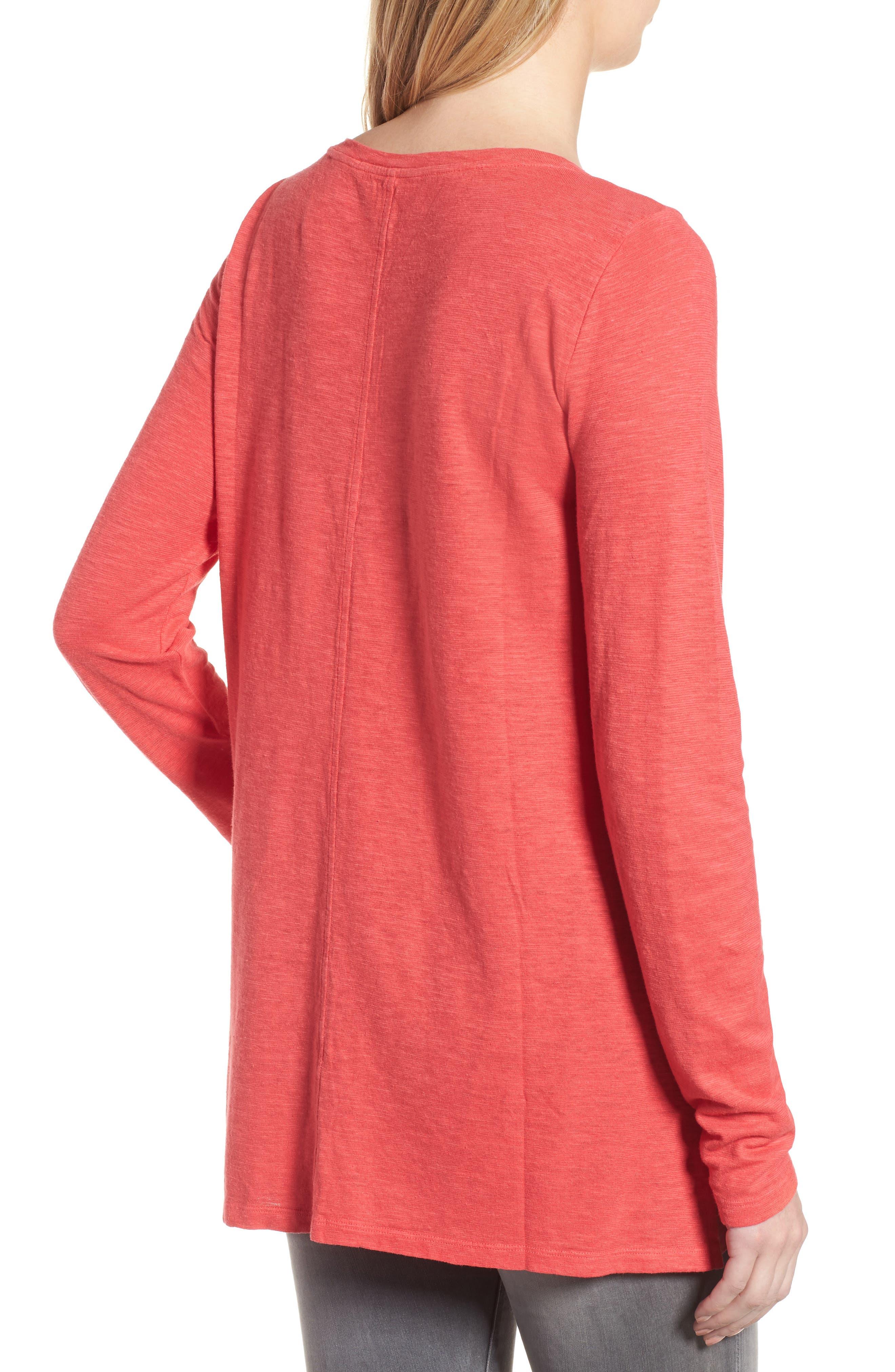Slub Jersey Tunic Top,                             Alternate thumbnail 2, color,                             Strawberry