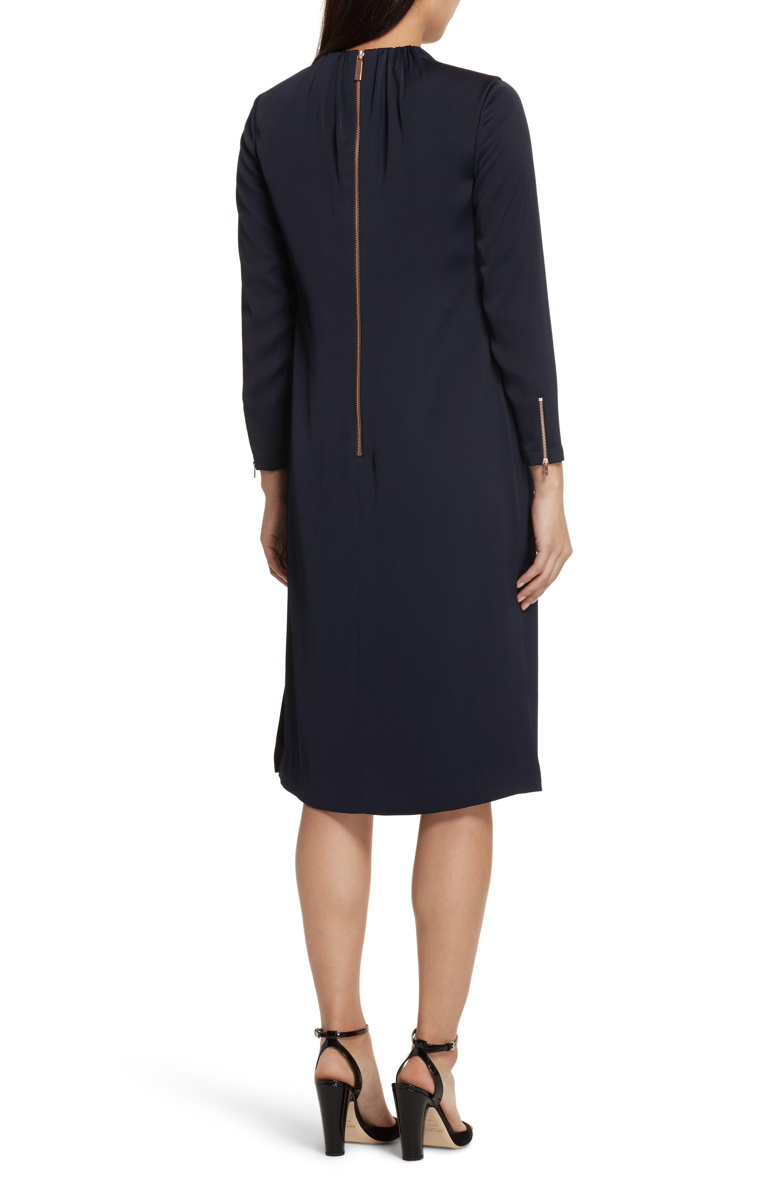 Ruched Neck Dress,                             Alternate thumbnail 2, color,                             Dark Blue