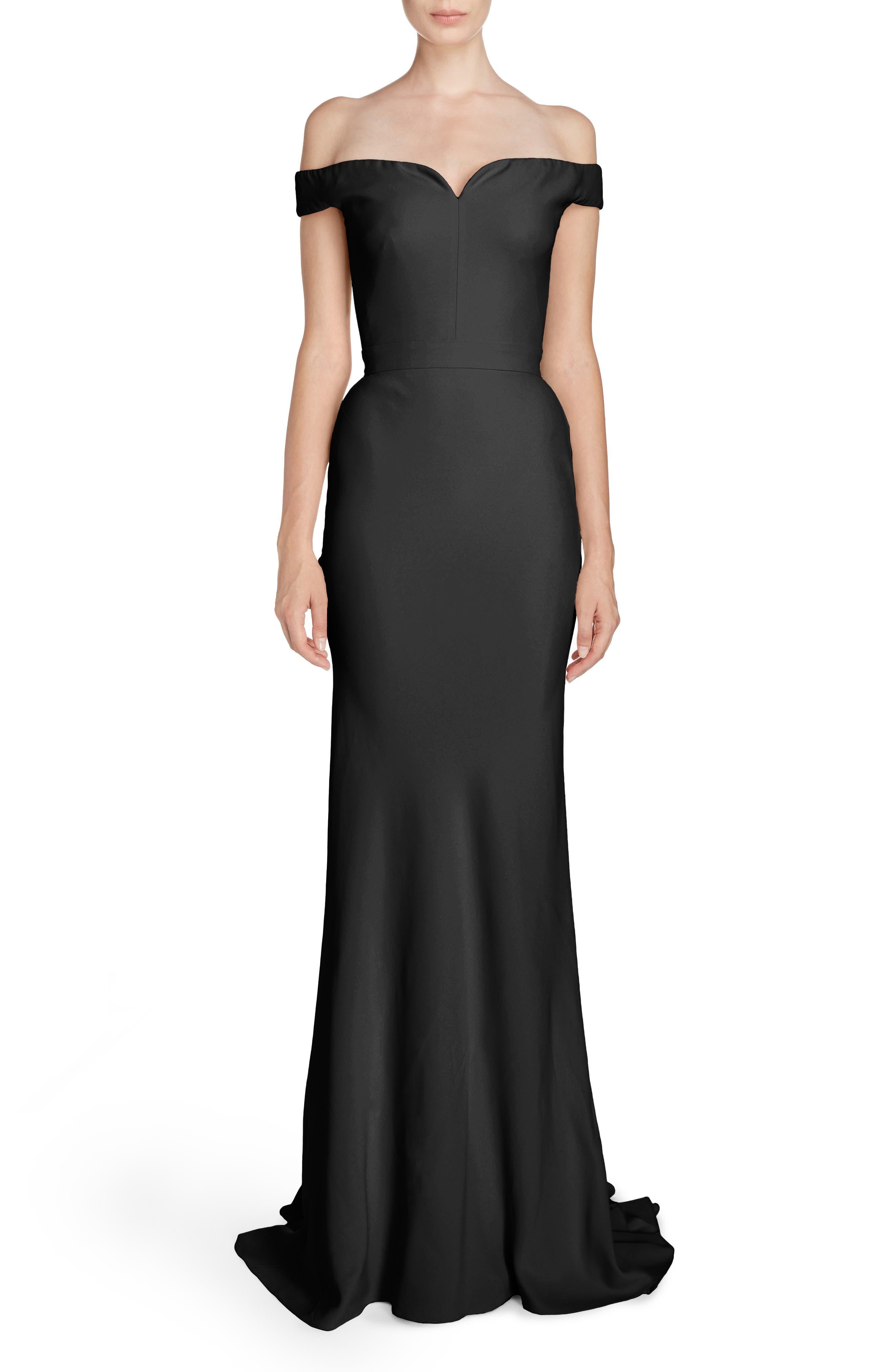 Crepe Off the Shoulder Gown,                         Main,                         color, Black