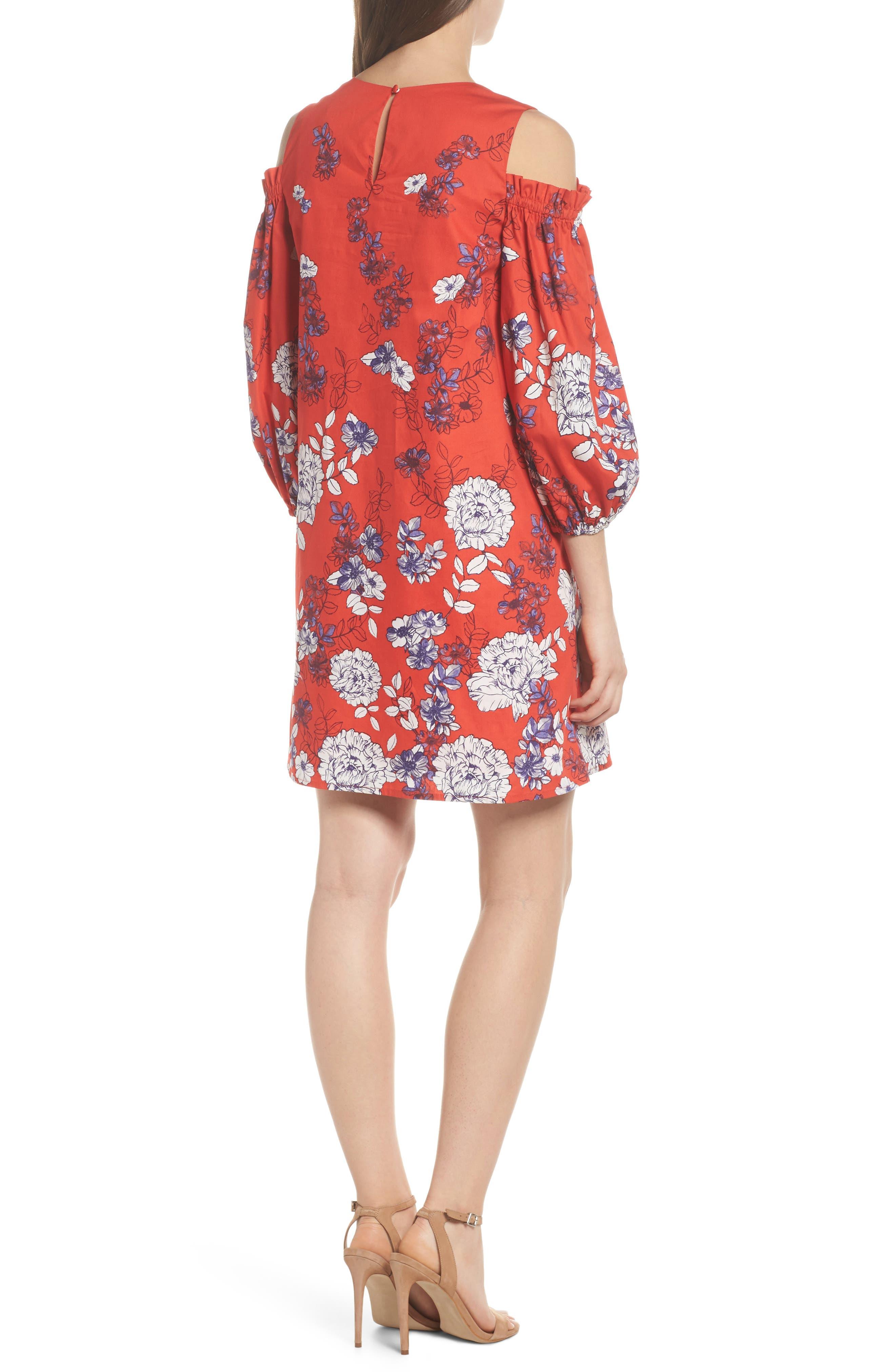 Print Sateen Cold Shoulder Shift Dress,                             Alternate thumbnail 2, color,                             Red/ Blue