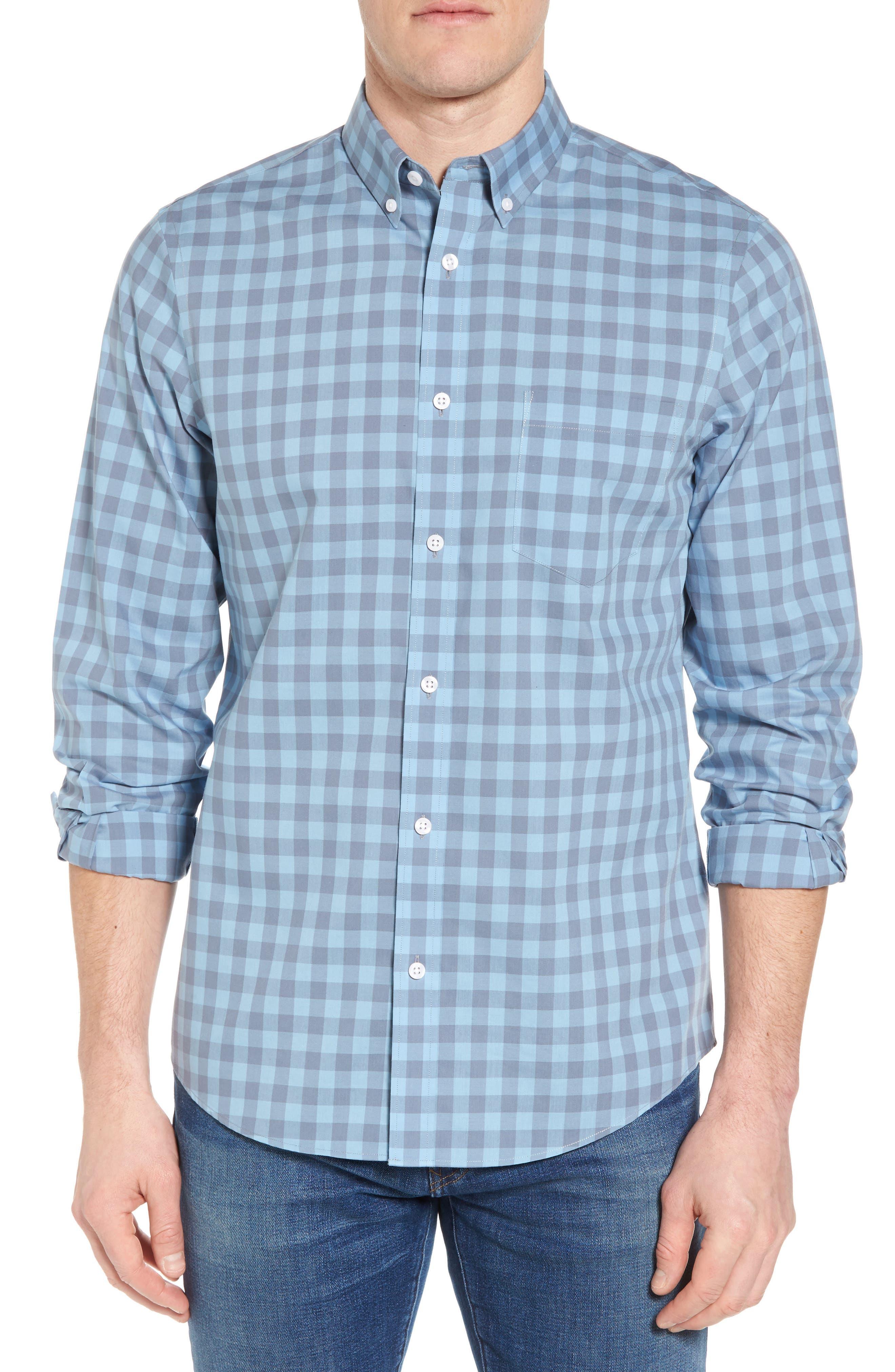 Regular Fit Gingham Sport Shirt,                         Main,                         color, Blue Dusk Grey Gingham