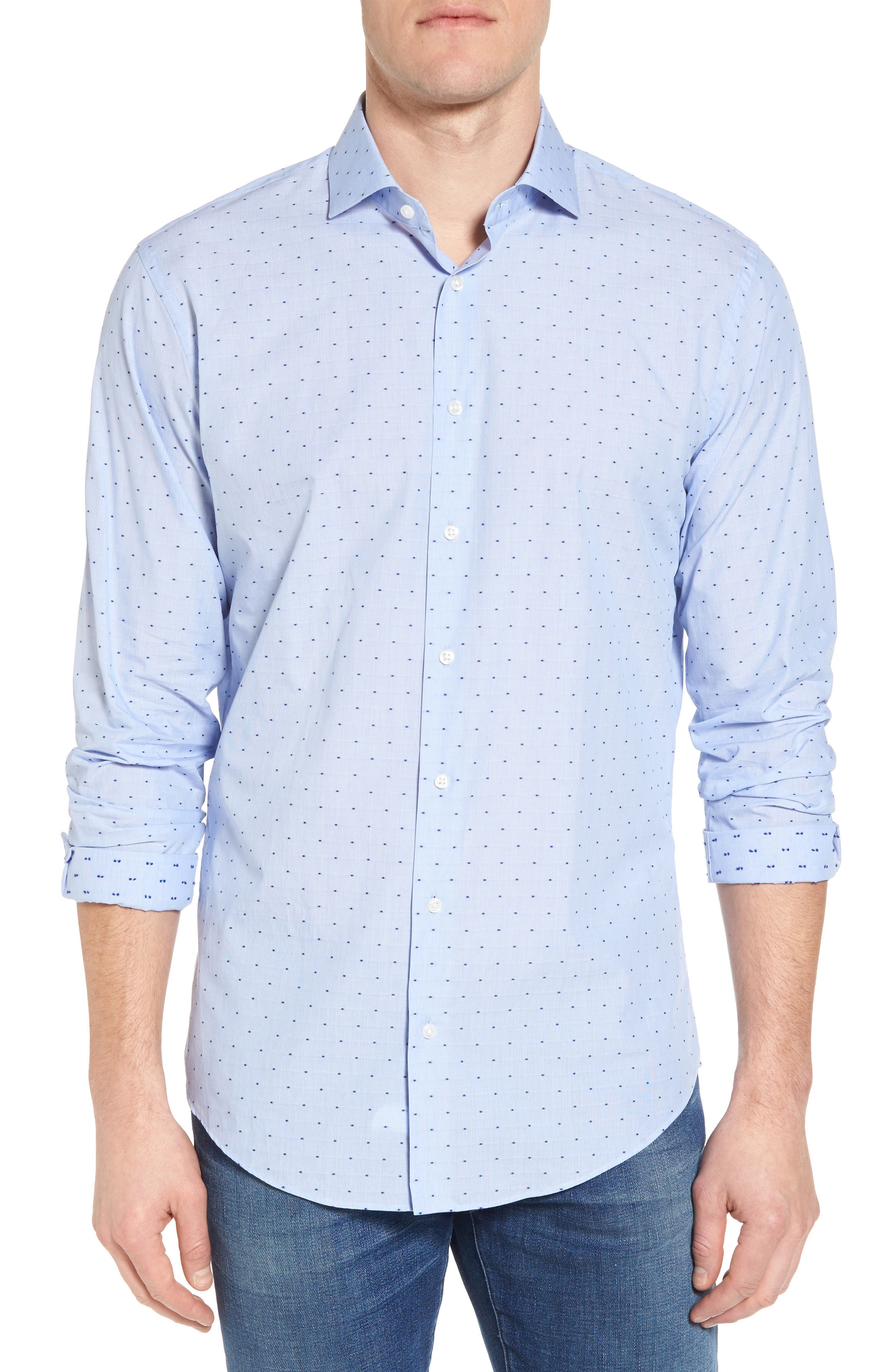 Trim Fit Dot Dress Shirt,                             Main thumbnail 1, color,                             Blue Hydrangea