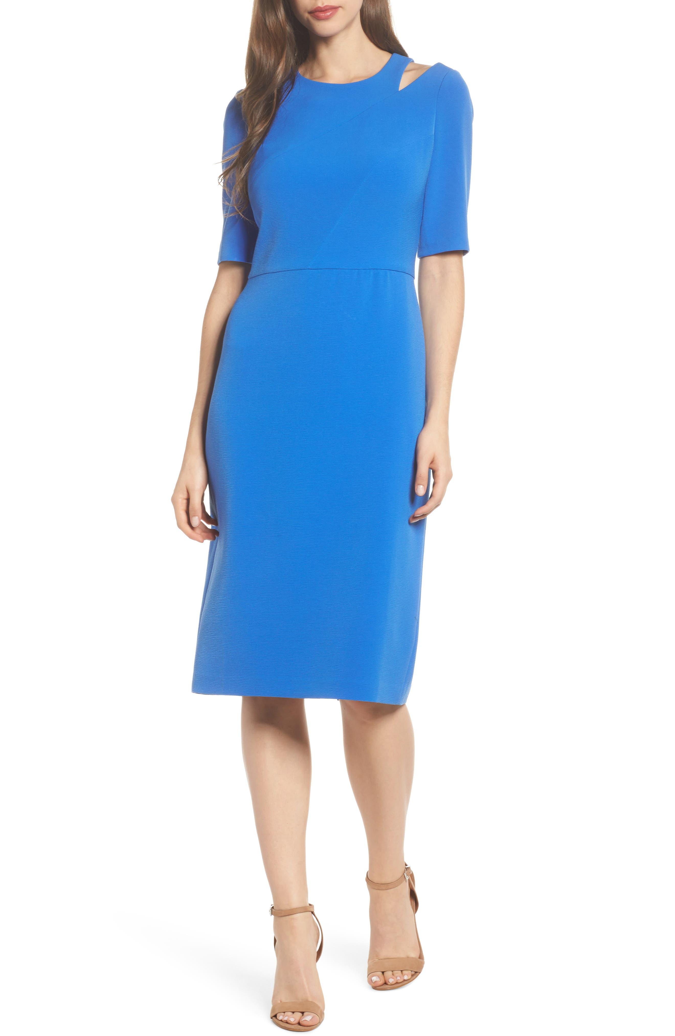 Textured Split Shoulder Sheath Dress,                         Main,                         color, Lapis