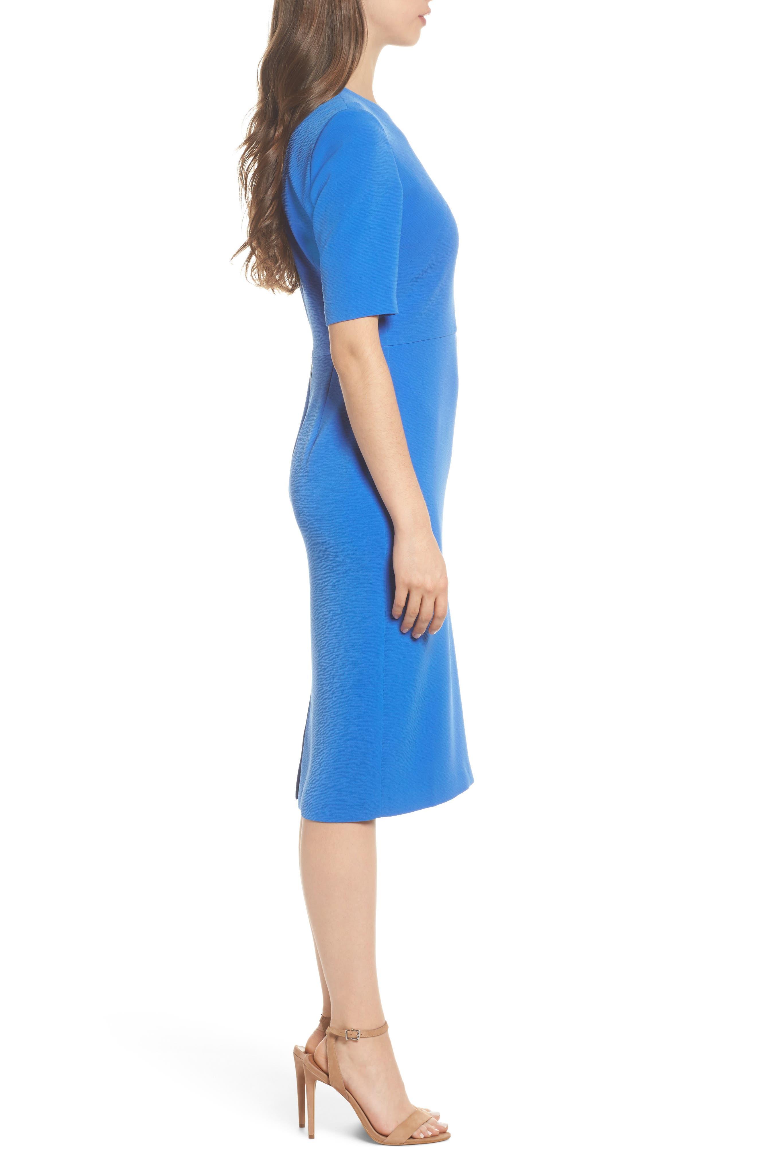 Textured Split Shoulder Sheath Dress,                             Alternate thumbnail 3, color,                             Lapis