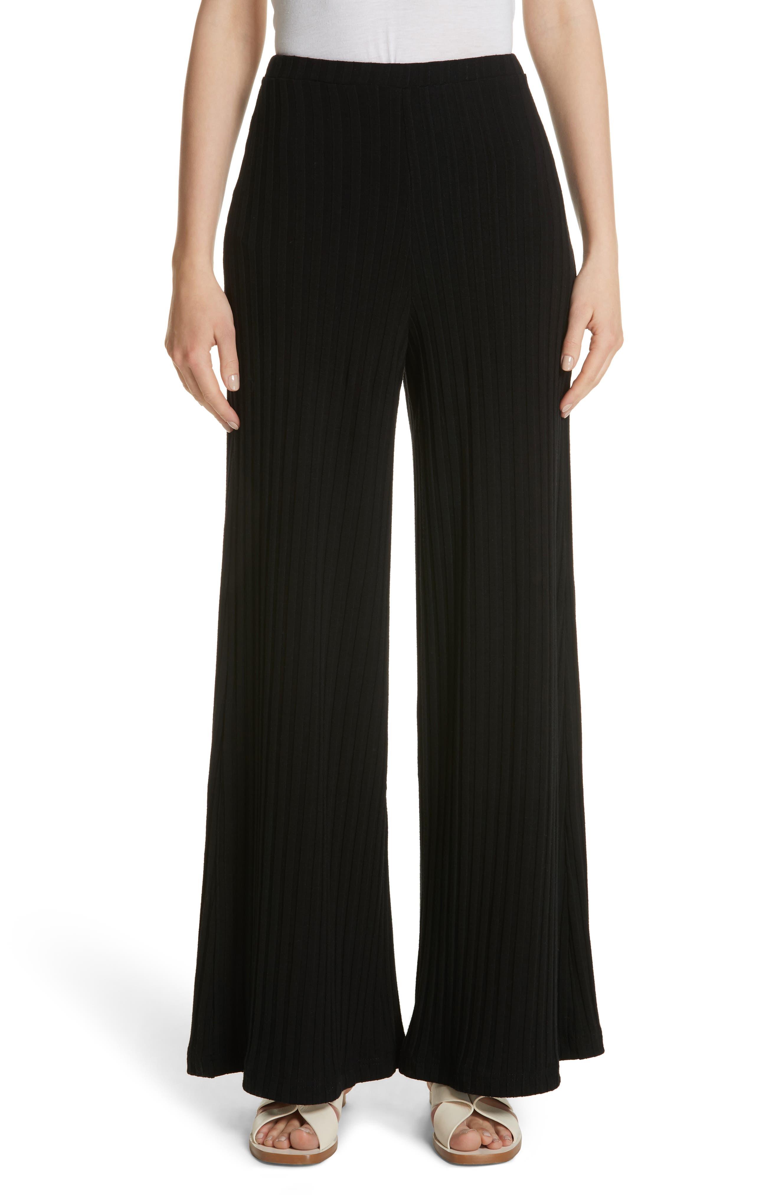 Rian Ribbed Bell Bottom Pants,                         Main,                         color, Black