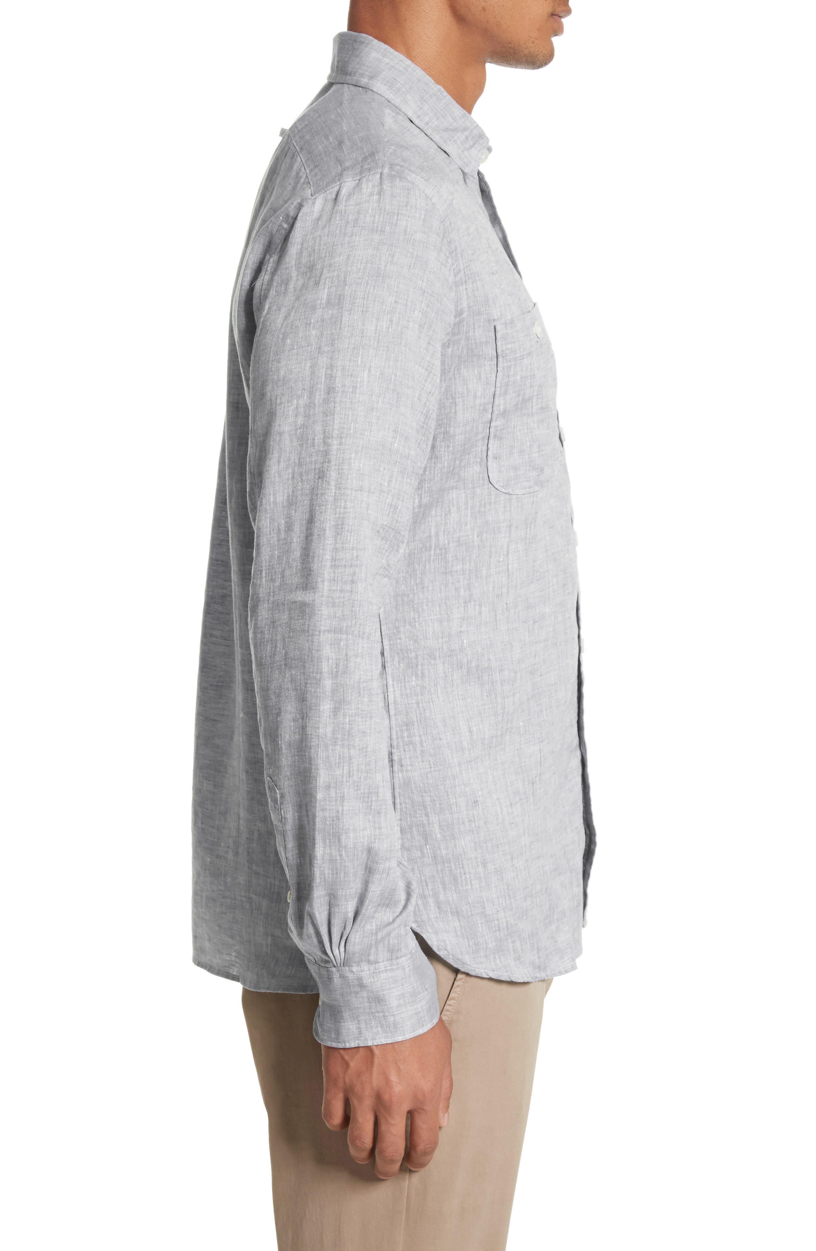 Linen Shirt,                             Alternate thumbnail 3, color,                             Light Grey