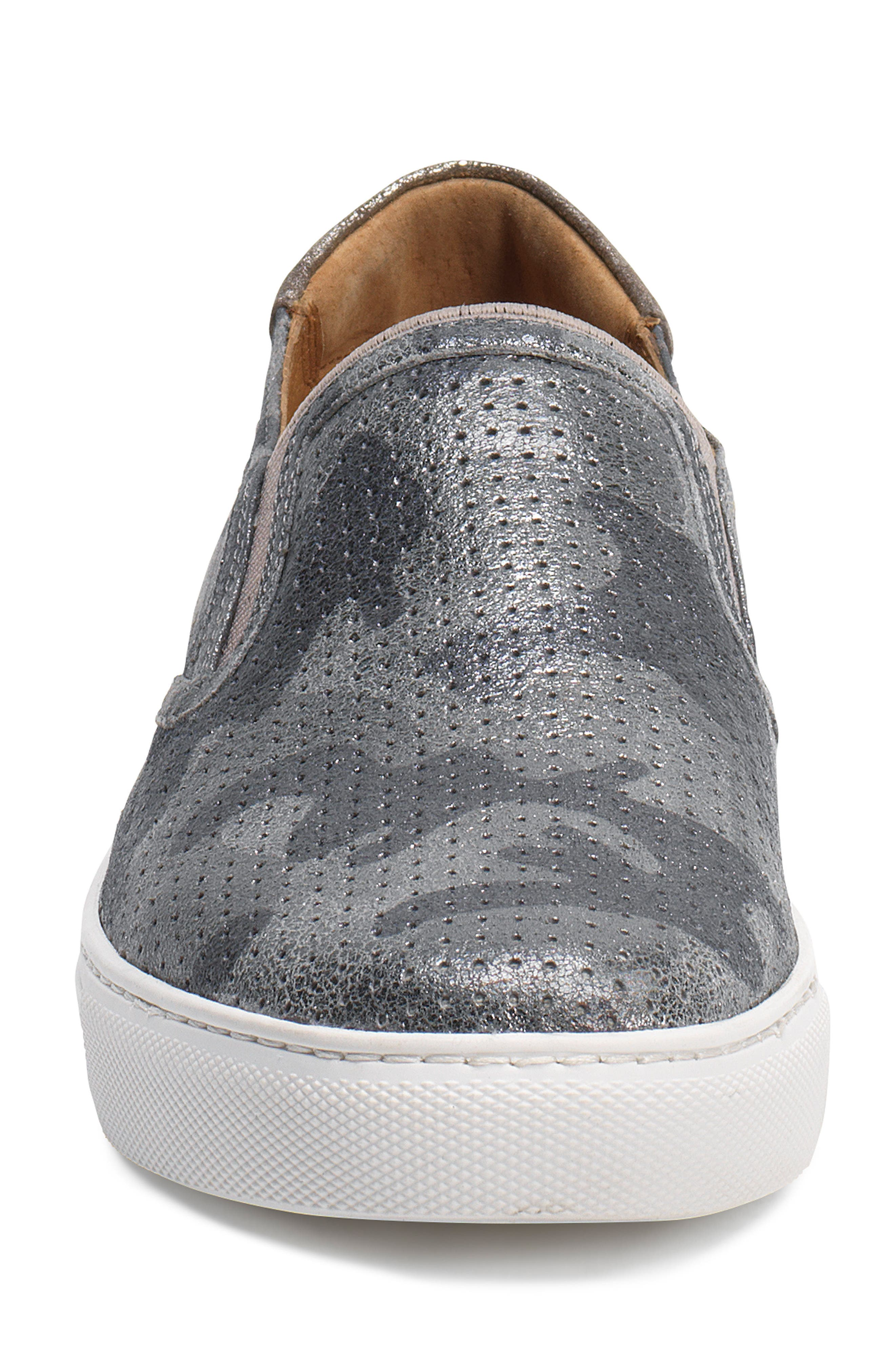 Lillian Water Resistant Slip-On Sneaker,                             Alternate thumbnail 4, color,                             Pewter Camo Leather