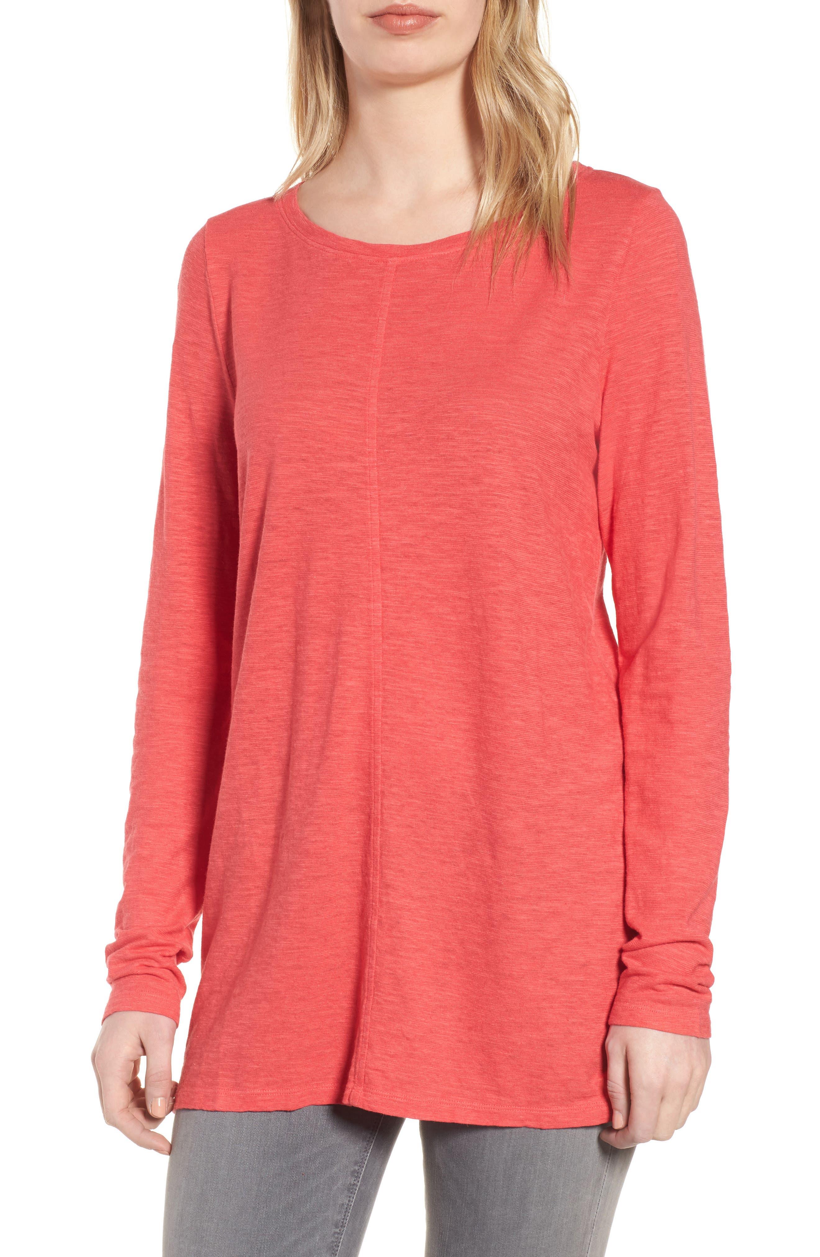 Slub Jersey Tunic Top,                         Main,                         color, Strawberry
