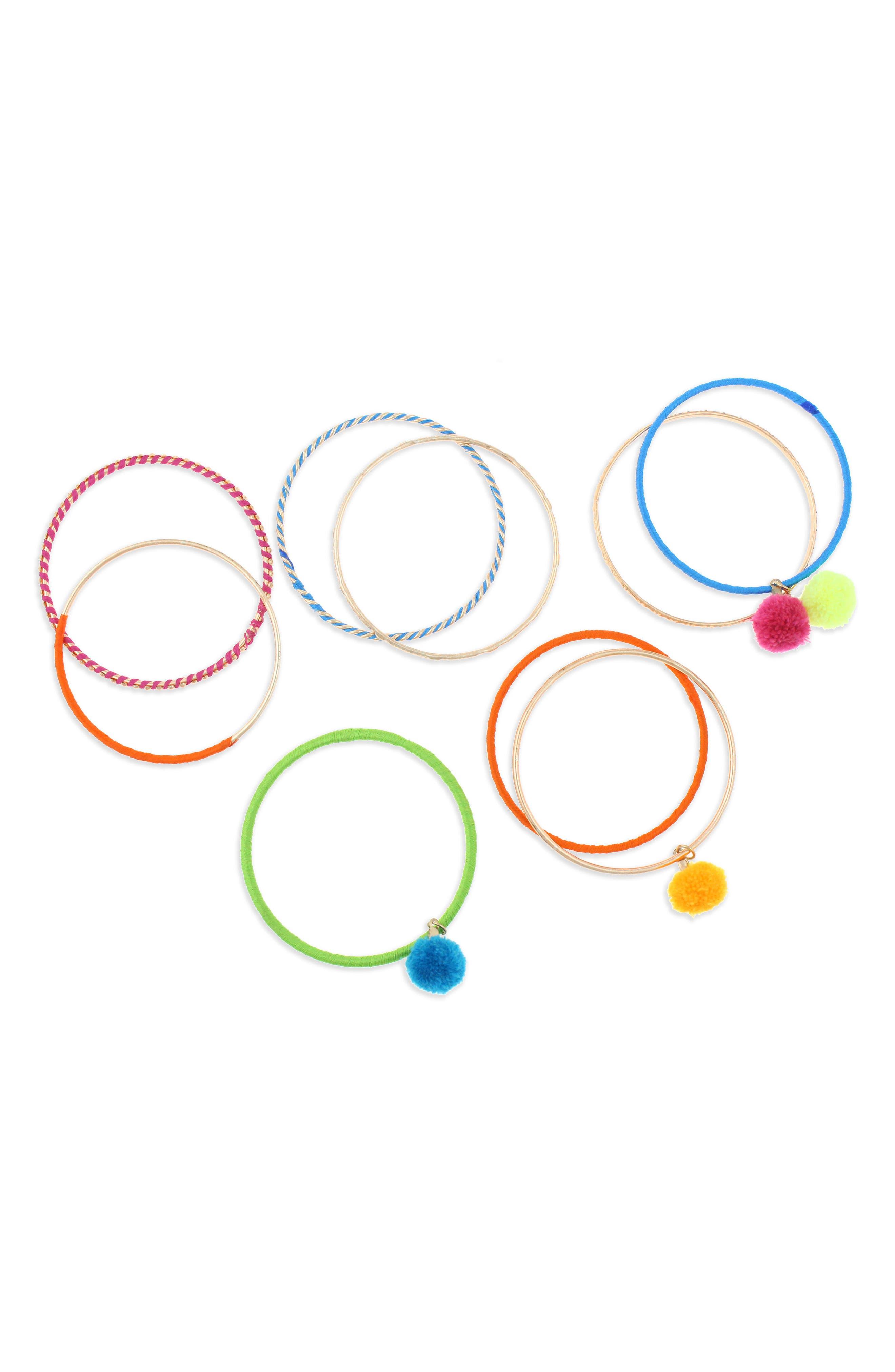 Set of 9 Bangle Bracelets,                             Alternate thumbnail 2, color,                             Metallic Multi