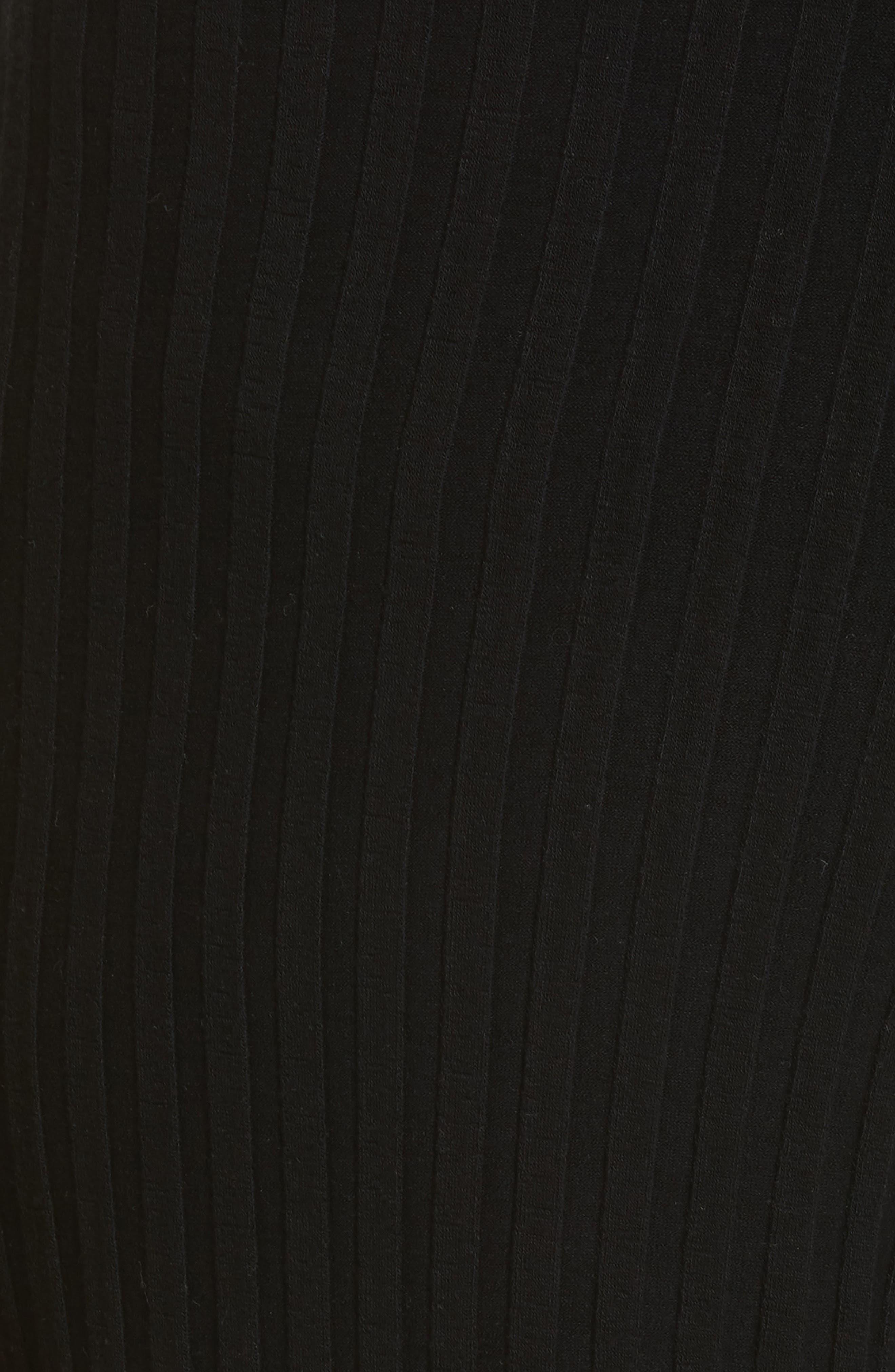 Rian Ribbed Bell Bottom Pants,                             Alternate thumbnail 5, color,                             Black