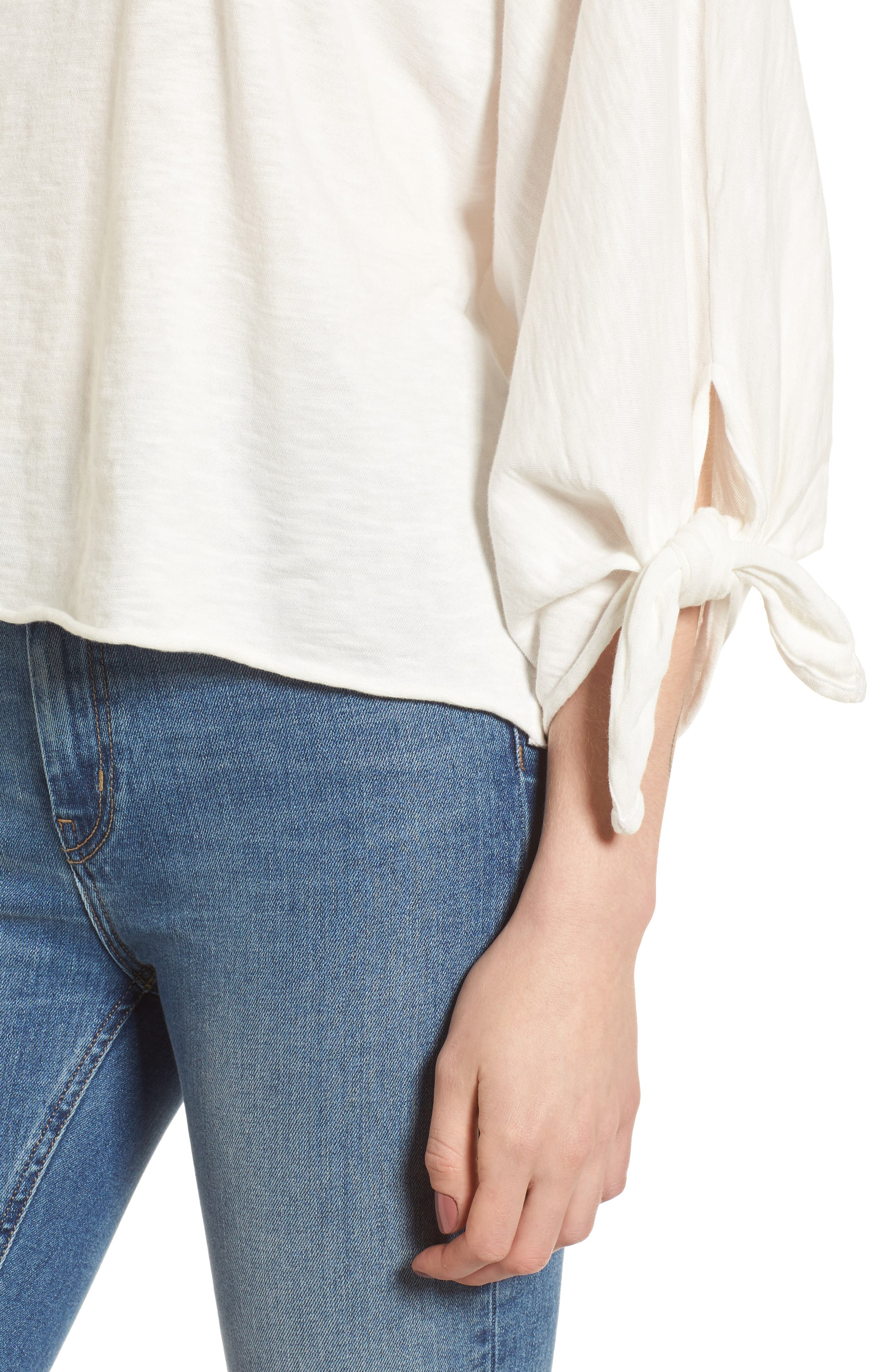 Tie Sleeve Slub Cotton Tee,                             Alternate thumbnail 4, color,                             Off White