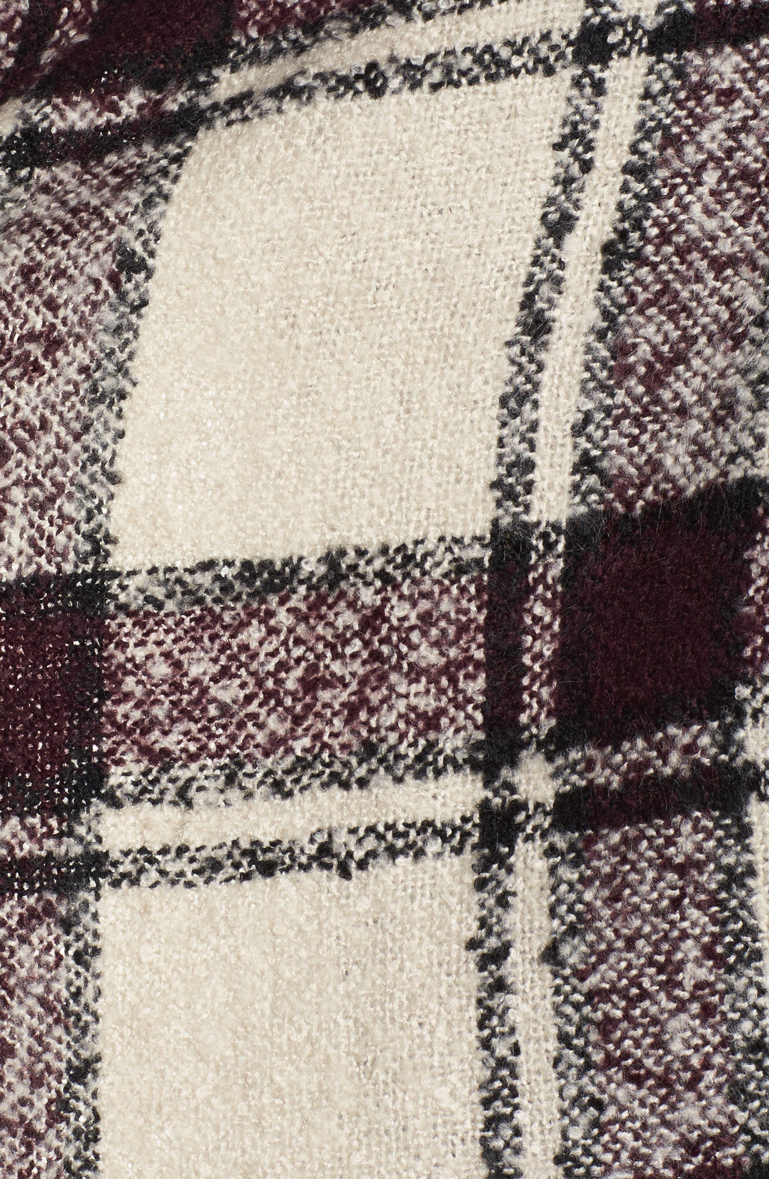 Plaid Bouclé Ruana,                             Alternate thumbnail 5, color,                             White Multi