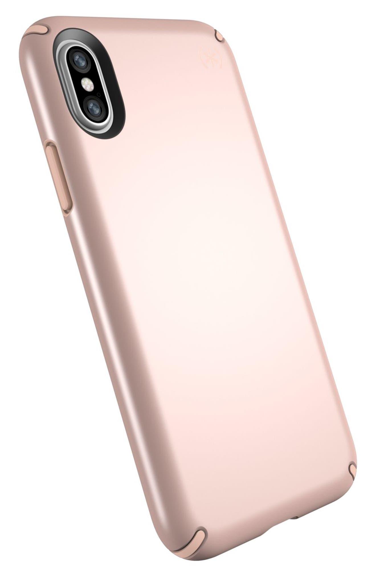 iPhone X Case,                             Alternate thumbnail 4, color,                             Rose Gold Metallic/ Peach