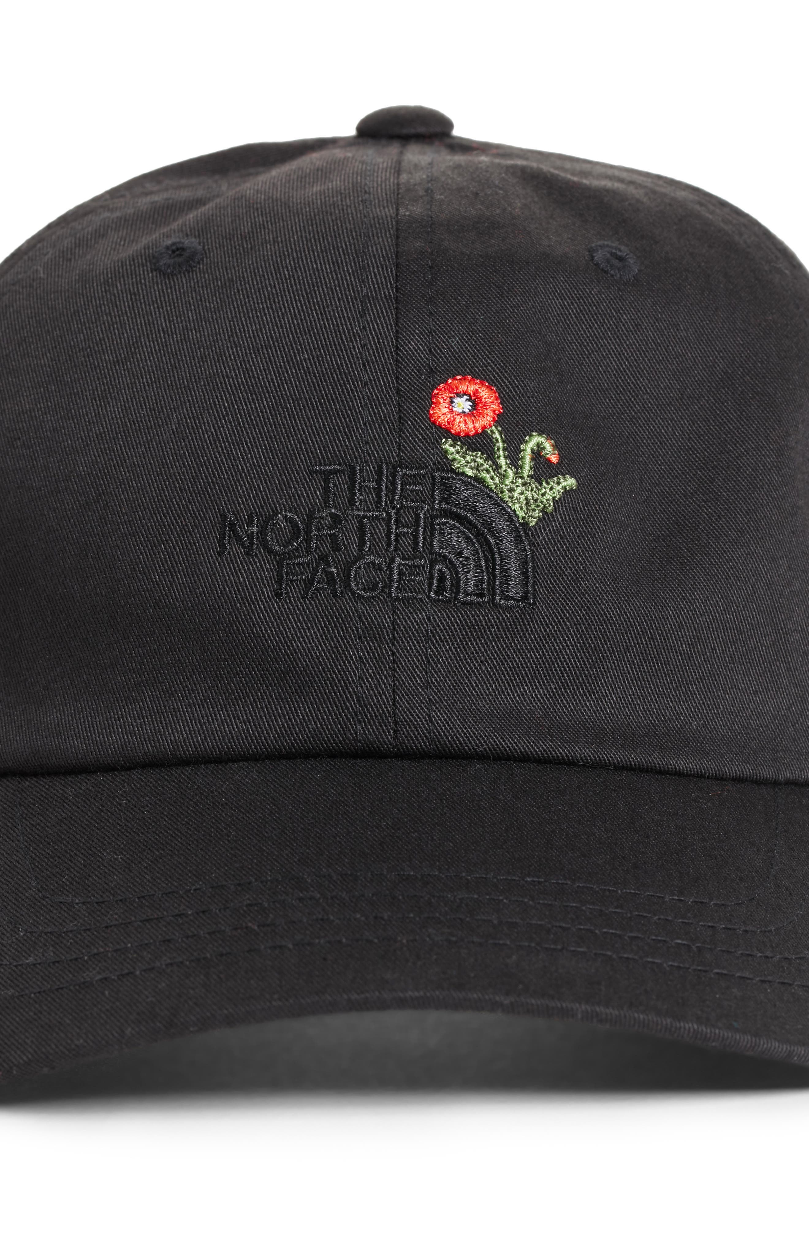 Norm Poppy Embroidered Adjustable Cap,                             Alternate thumbnail 3, color,                             Tnf Black