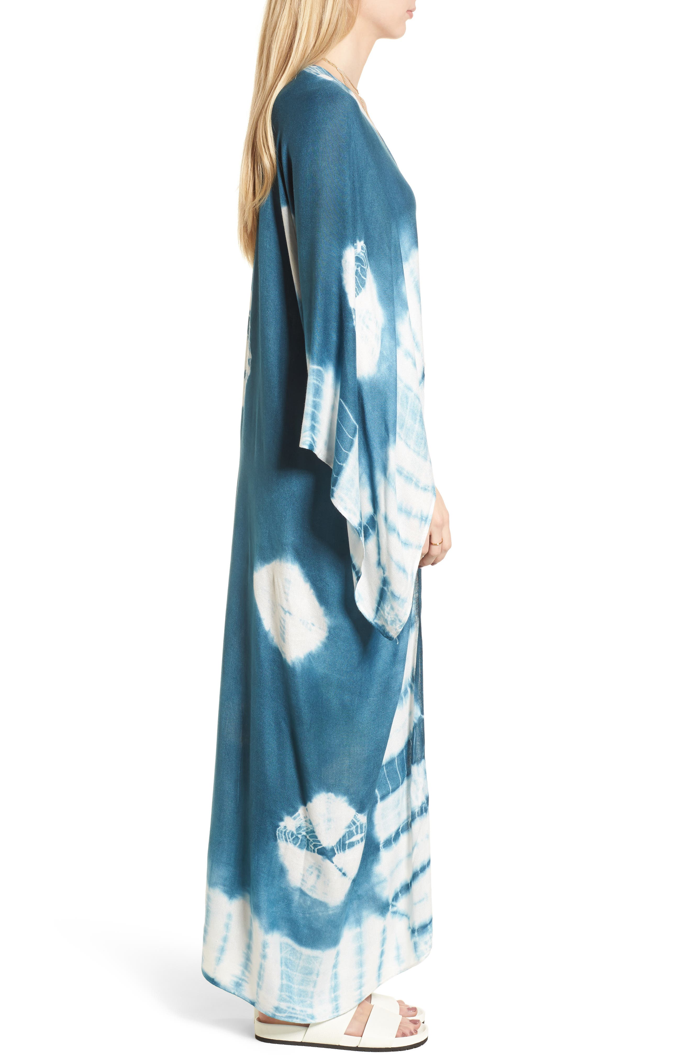 Spellbound Tie Dye Kimono Duster,                             Alternate thumbnail 3, color,                             Ocean