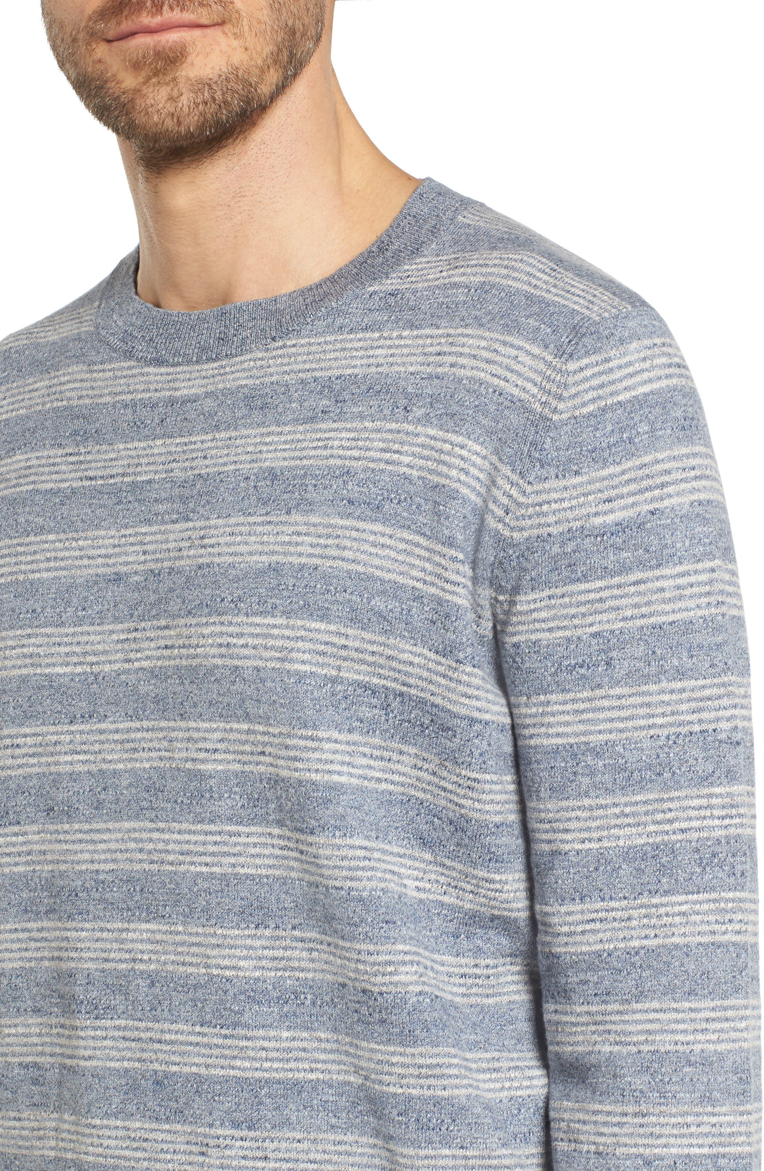 Stripe Cotton Sweater,                             Alternate thumbnail 4, color,                             Blue Grey Heather Stripe