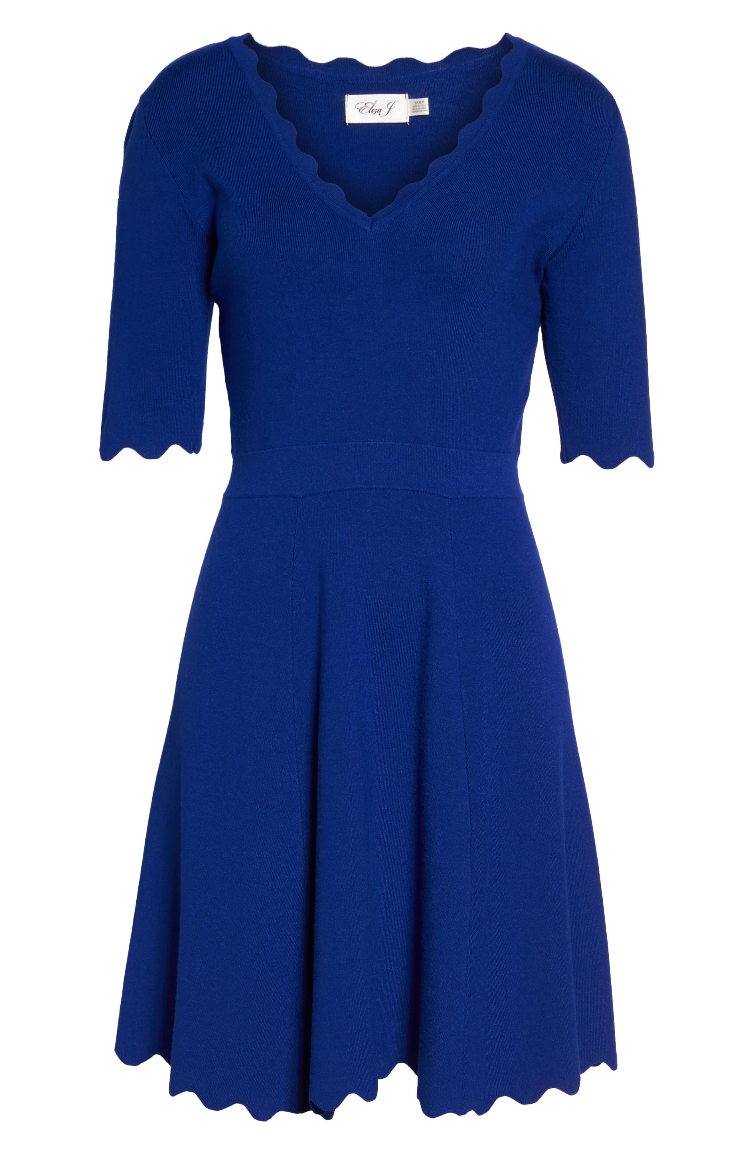 Alternate Image 6  - Eliza J Scallop Fit & Flare Dress