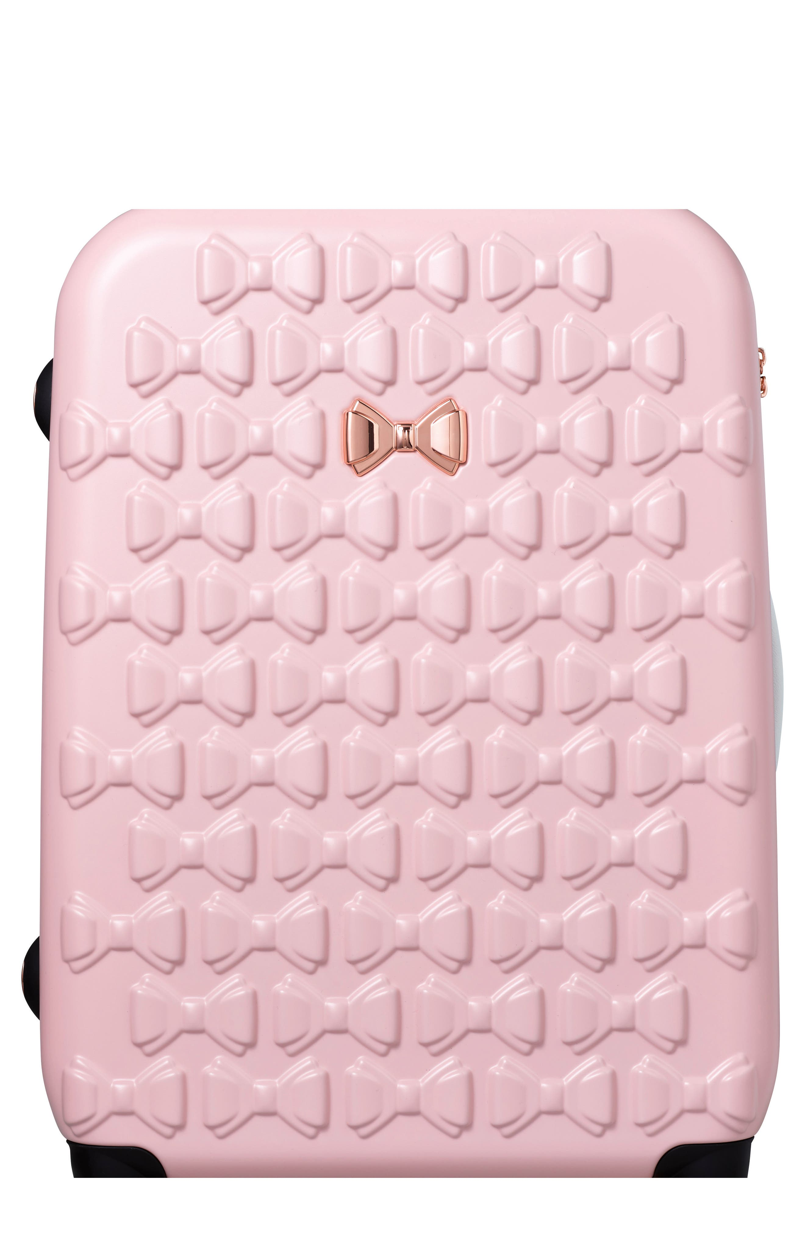 Alternate Image 1 Selected - Ted Baker London Large Beau Bow Embossed Four-Wheel 31-Inch Trolley Suitcase