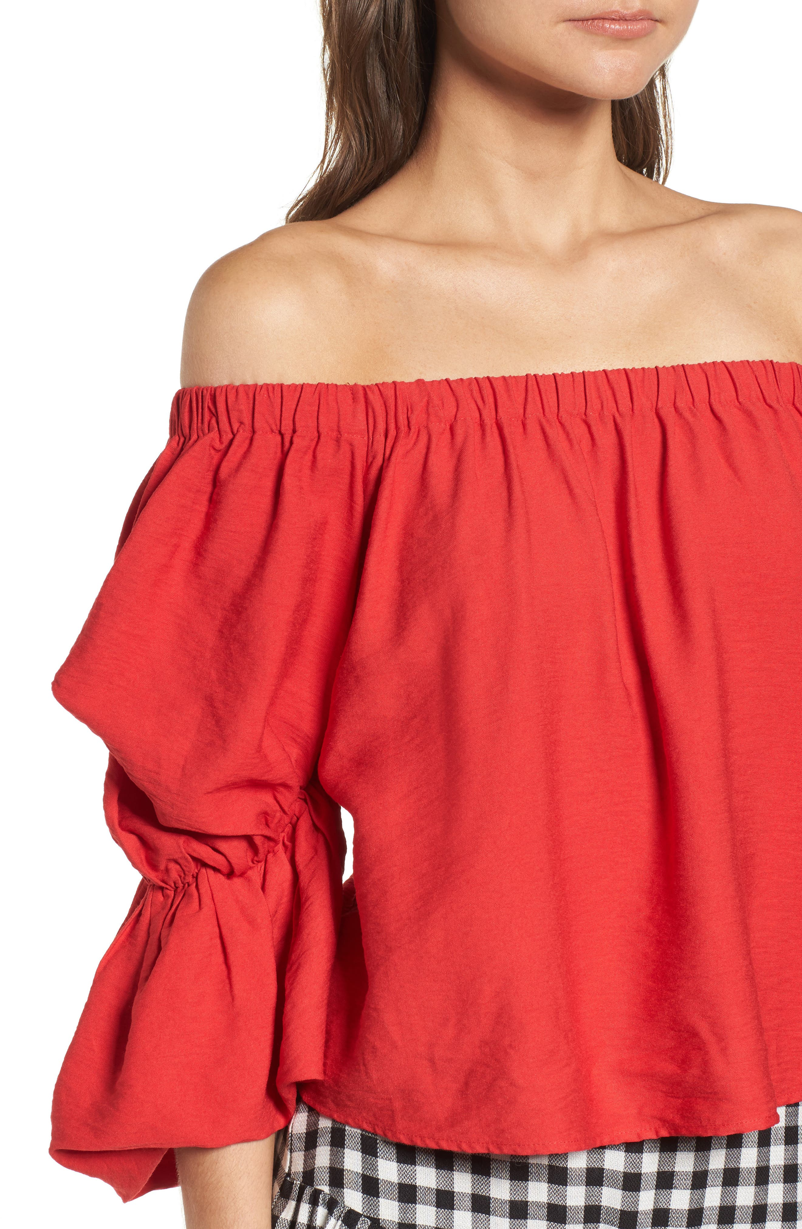 Puff Sleeve Off the Shoulder Top,                             Alternate thumbnail 4, color,                             Red