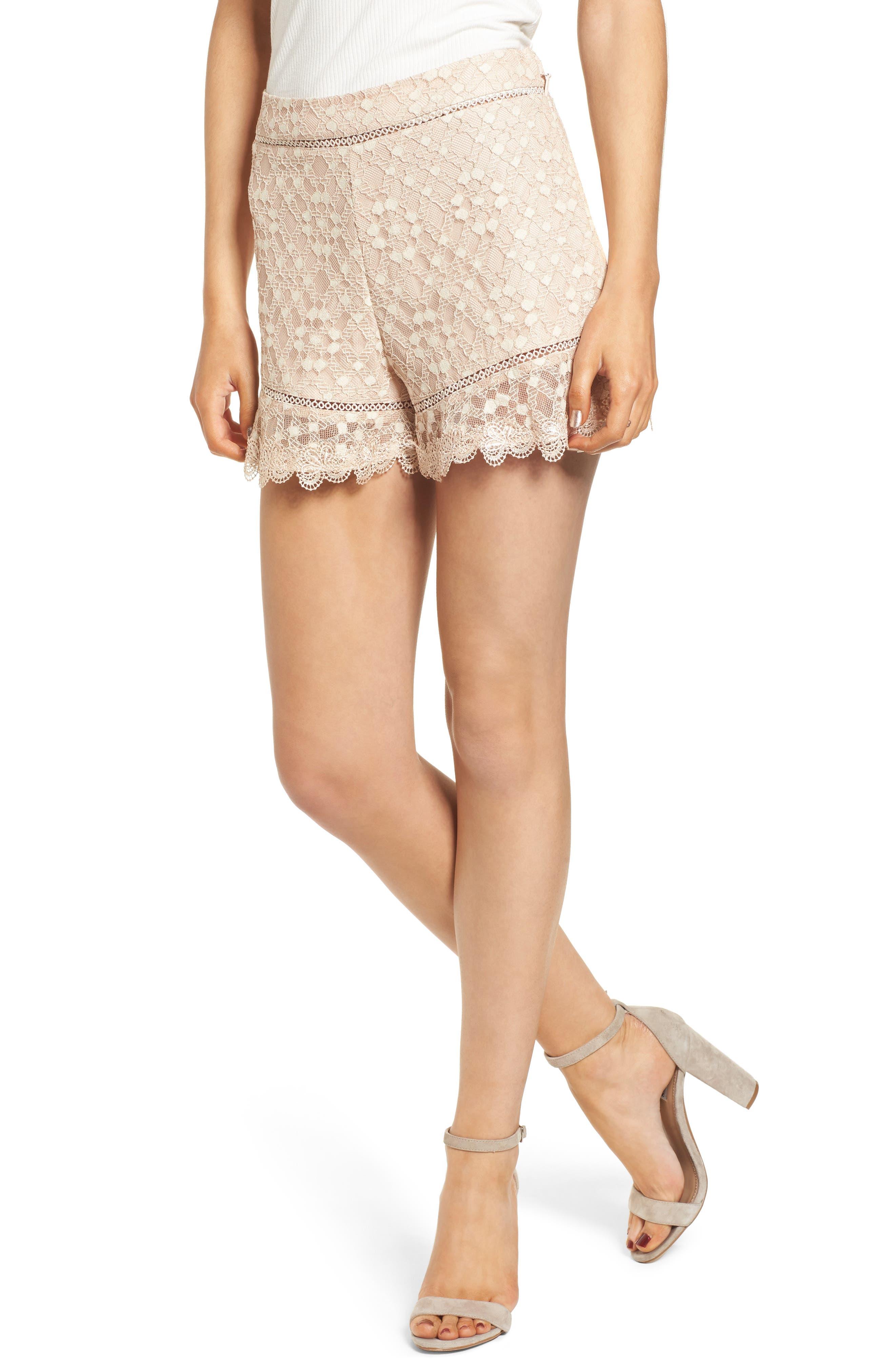 Lace Shorts,                         Main,                         color, Blush